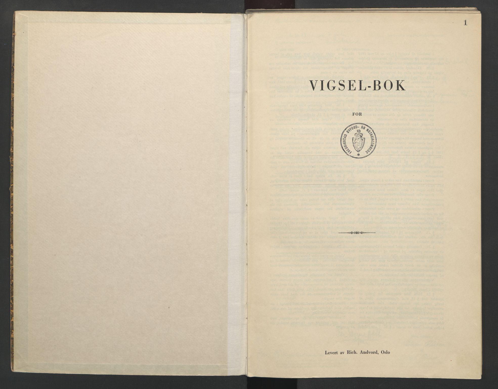 SAO, Fredrikstad byfogd, L/Lc/L0003: Vigselsbok, 1943-1945, s. 1