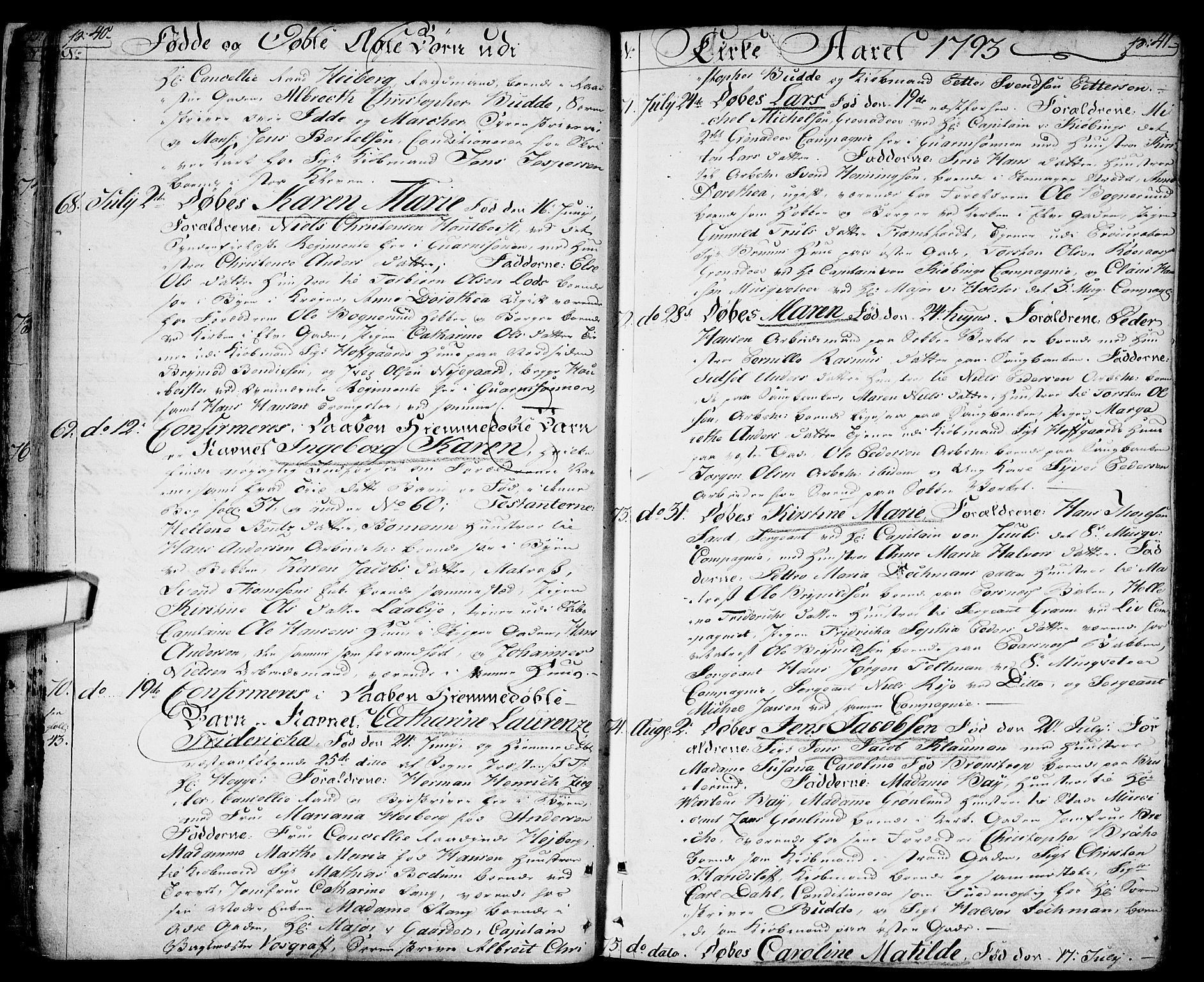 SAO, Halden prestekontor Kirkebøker, F/Fa/L0002: Ministerialbok nr. I 2, 1792-1812, s. 40-41