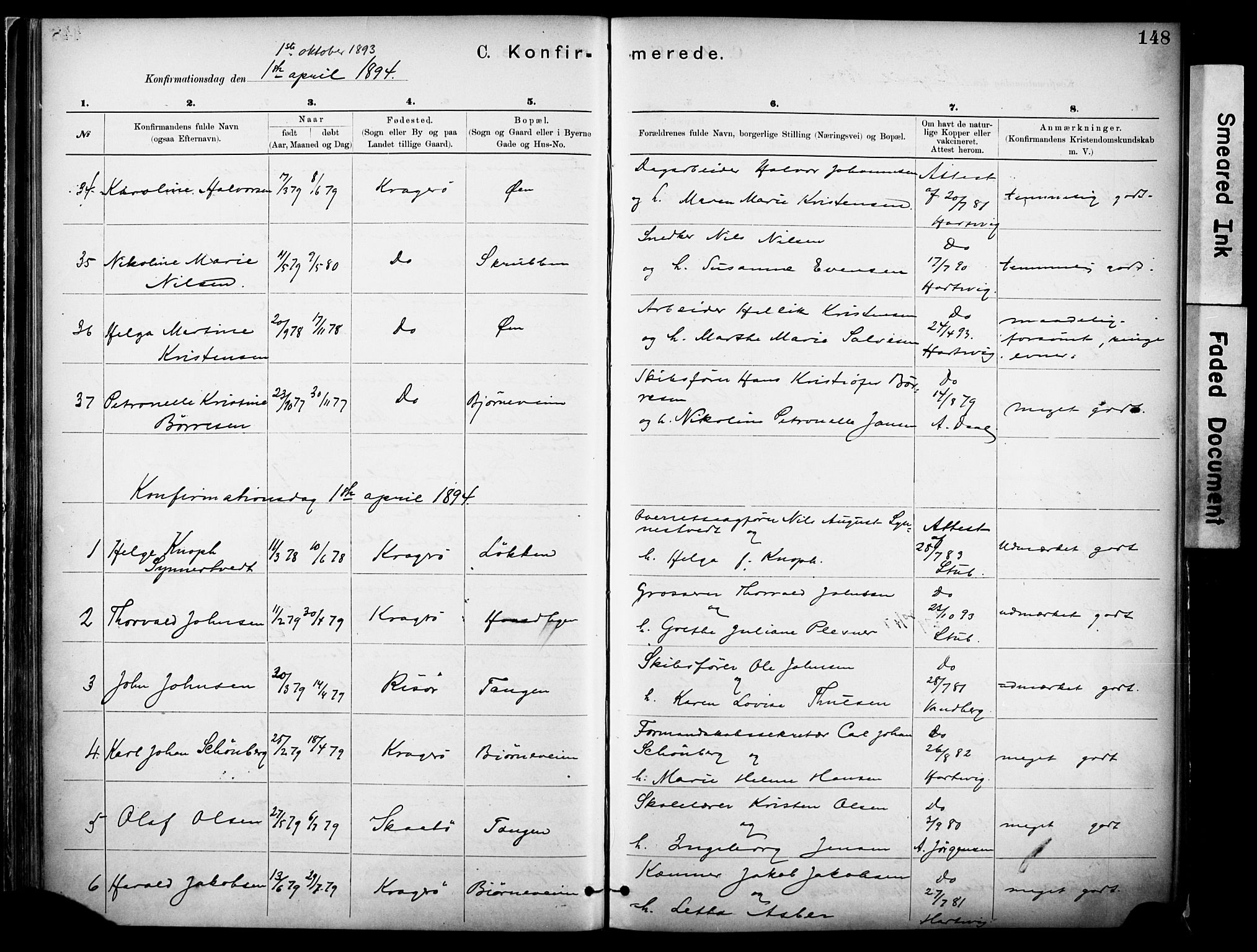 SAKO, Kragerø kirkebøker, F/Fa/L0012: Ministerialbok nr. I 12, 1880-1904, s. 148