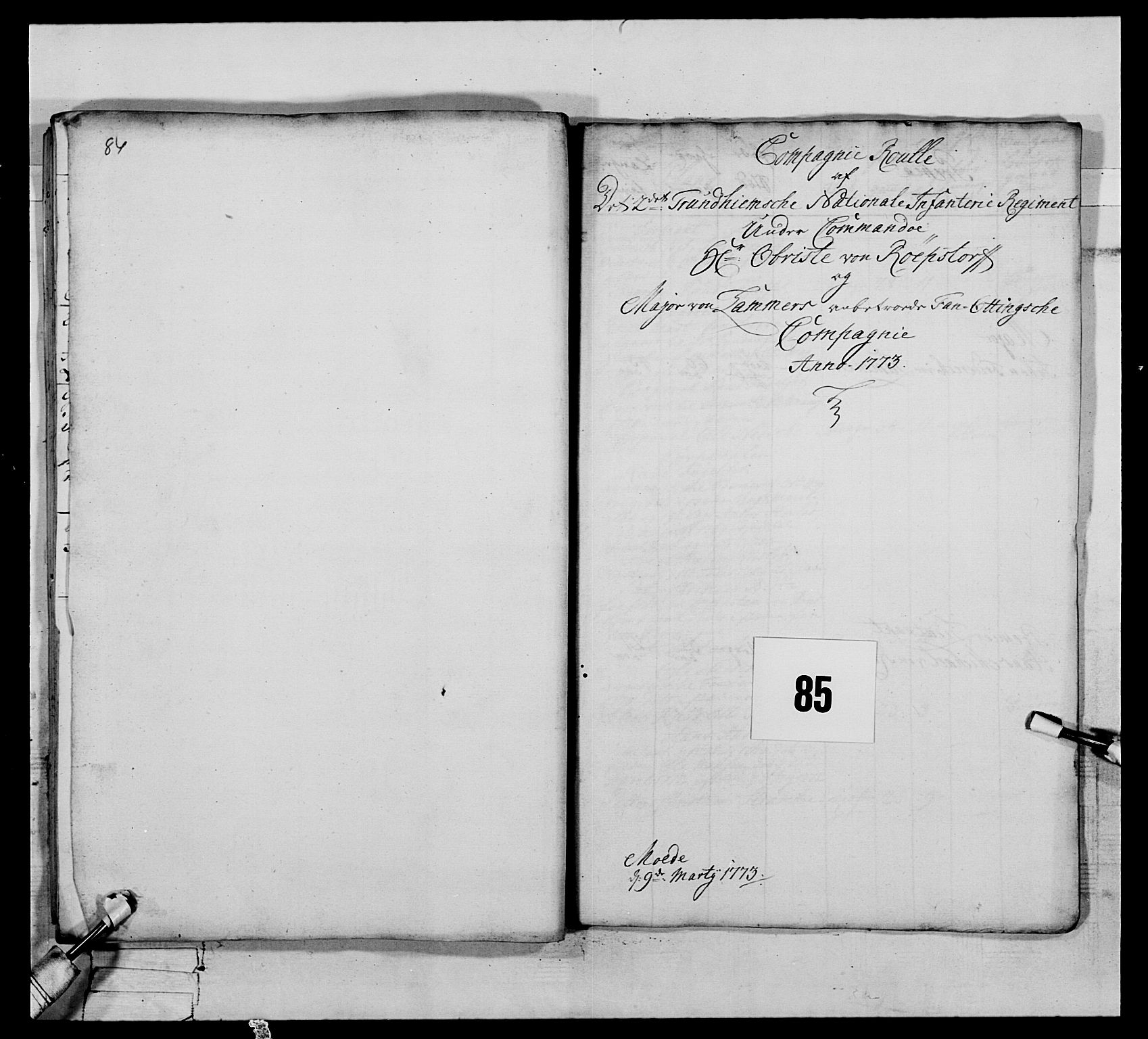 RA, Generalitets- og kommissariatskollegiet, Det kongelige norske kommissariatskollegium, E/Eh/L0076: 2. Trondheimske nasjonale infanteriregiment, 1766-1773, s. 467