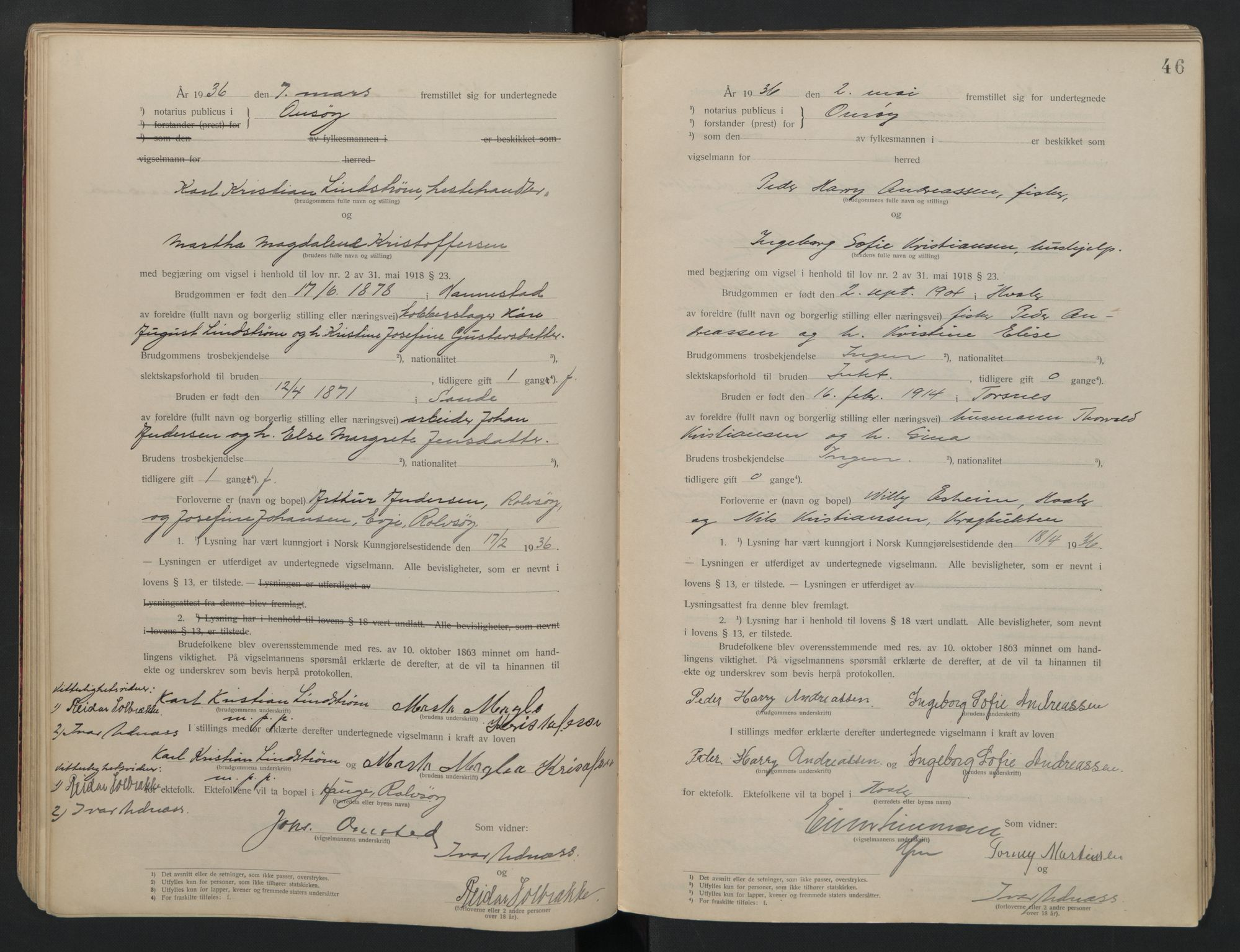 SAO, Onsøy sorenskriveri, L/La/L0001: Vigselsbok, 1920-1942, s. 46