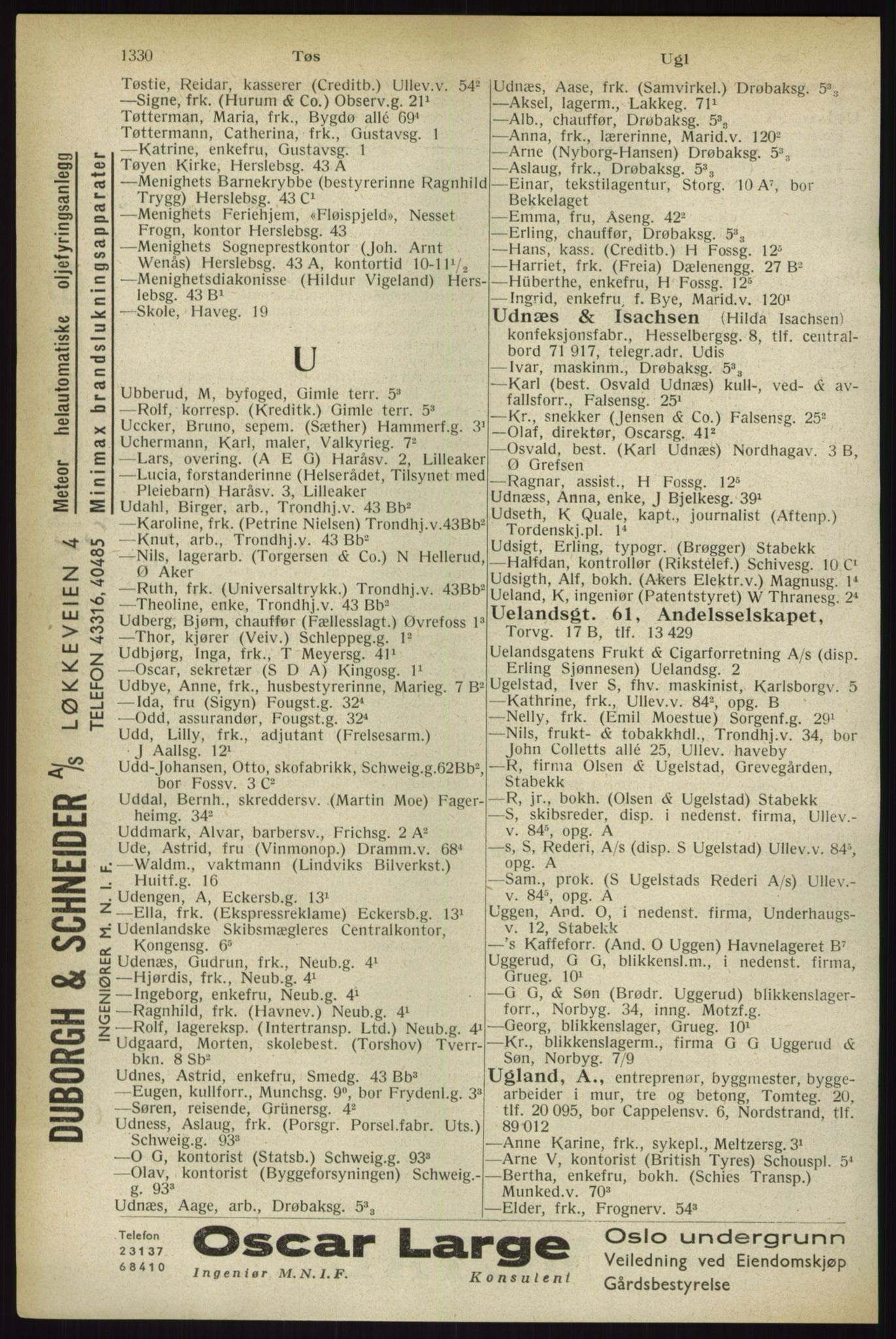 PUBL, Kristiania/Oslo adressebok, 1933, s. 1330