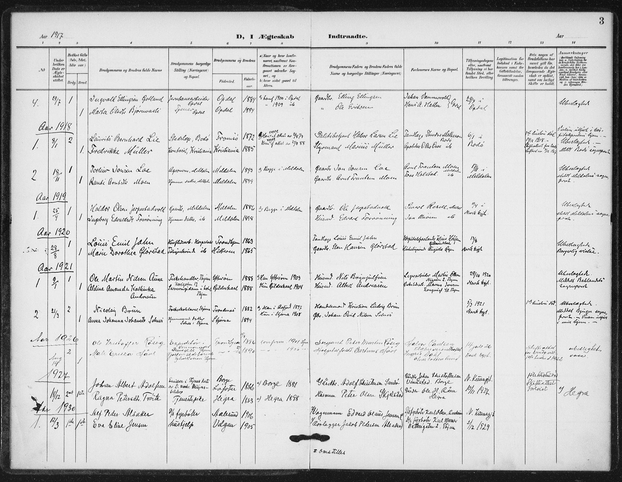 SAT, Ministerialprotokoller, klokkerbøker og fødselsregistre - Sør-Trøndelag, 623/L0472: Ministerialbok nr. 623A06, 1907-1938, s. 3