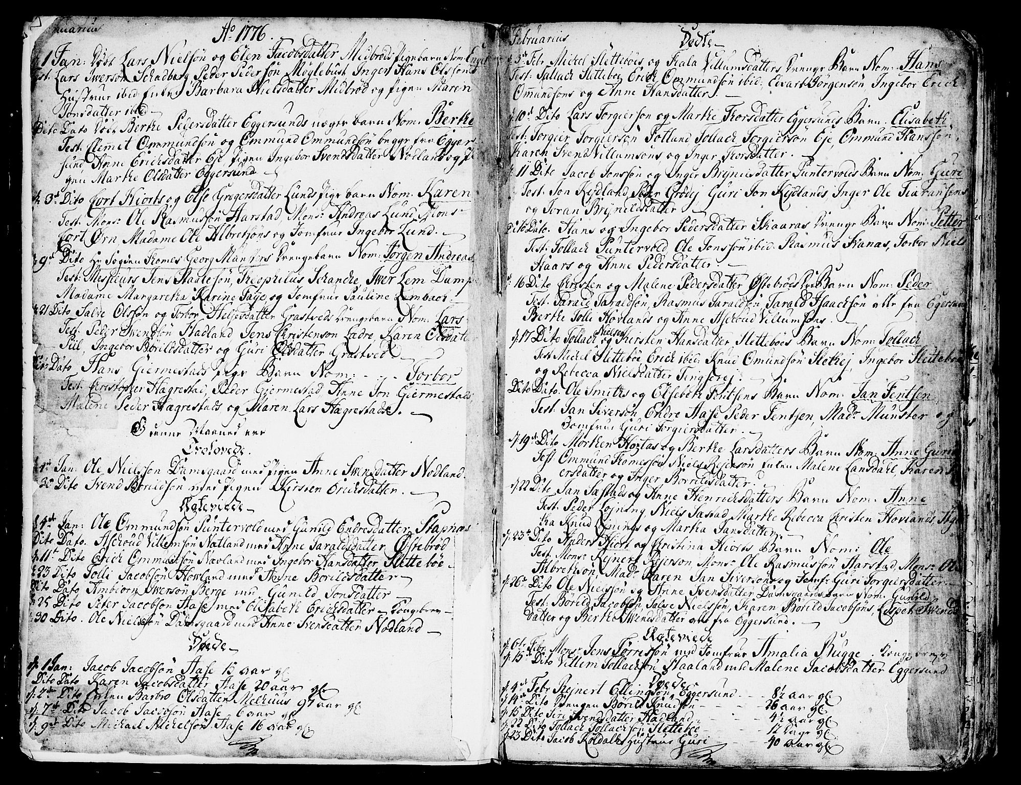 SAST, Egersund sokneprestkontor, Ministerialbok nr. A 4 /1, 1776-1789, s. 2