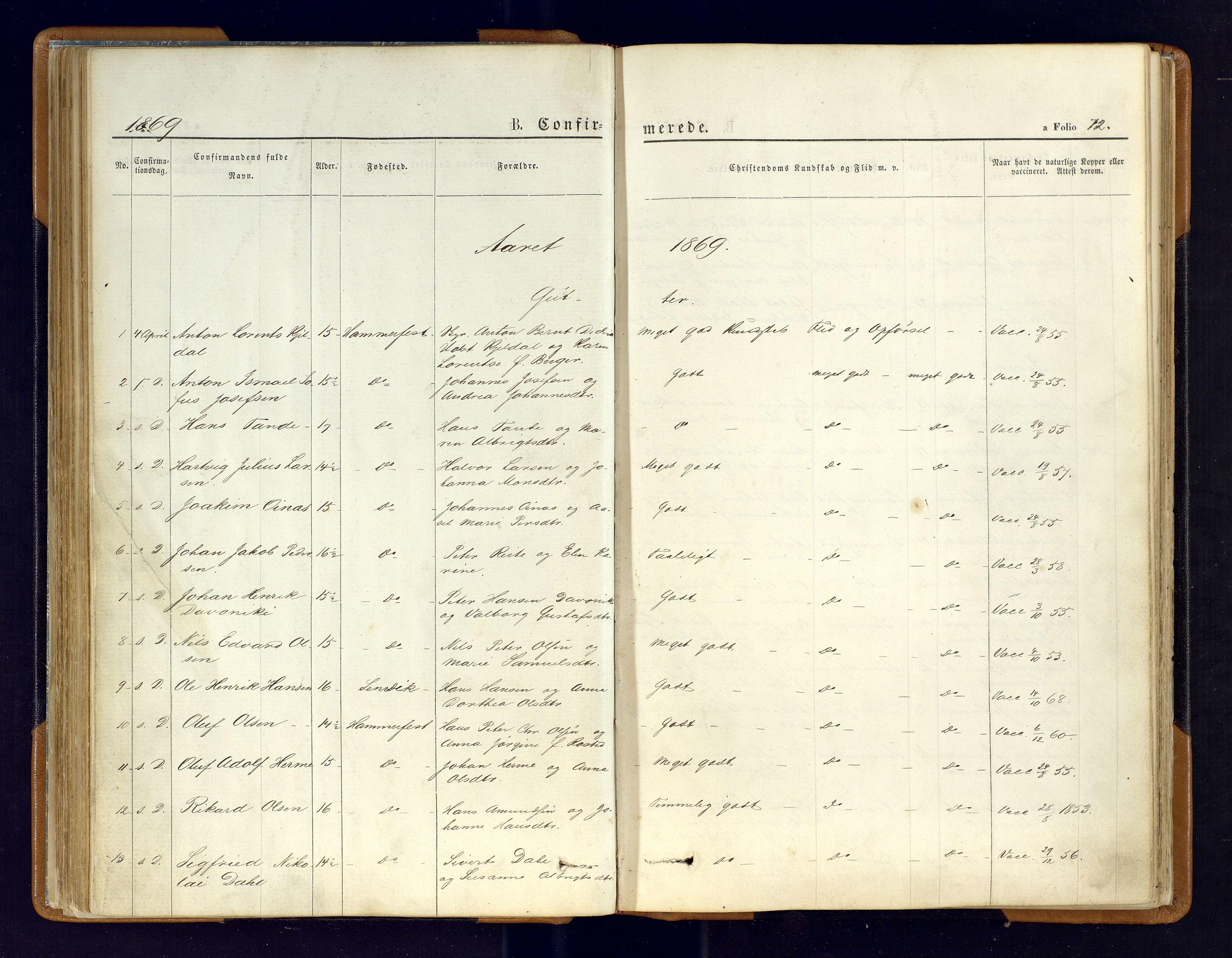 SATØ, Hammerfest sokneprestembete, Ministerialbok nr. 6, 1869-1877, s. 72