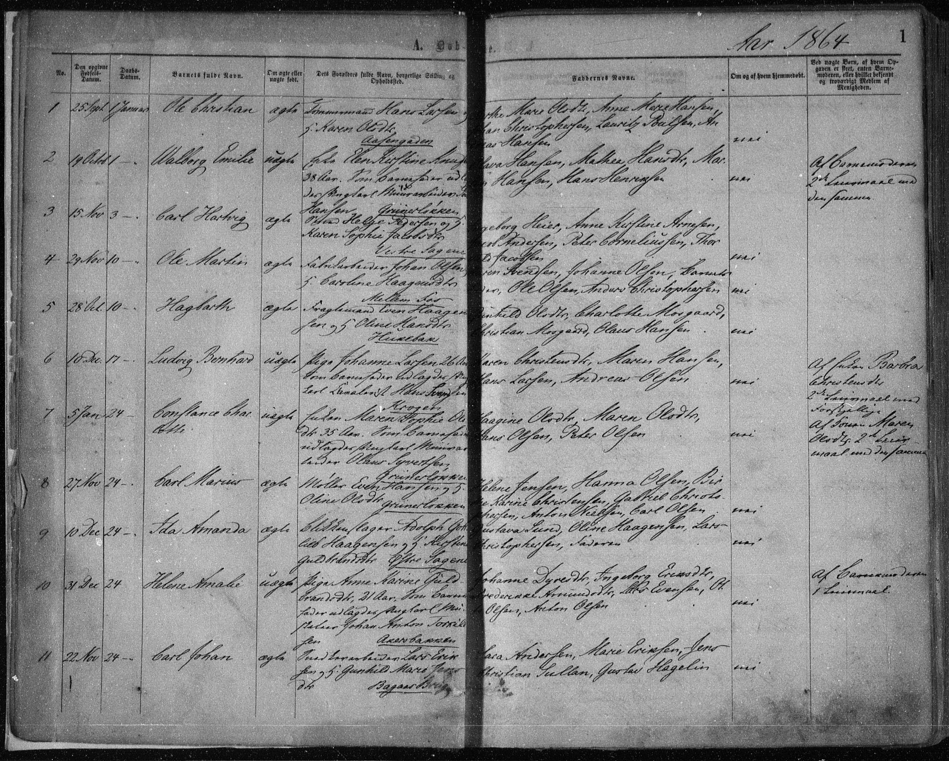 SAO, Gamle Aker prestekontor Kirkebøker, F/L0002: Ministerialbok nr. 2, 1864-1872, s. 1