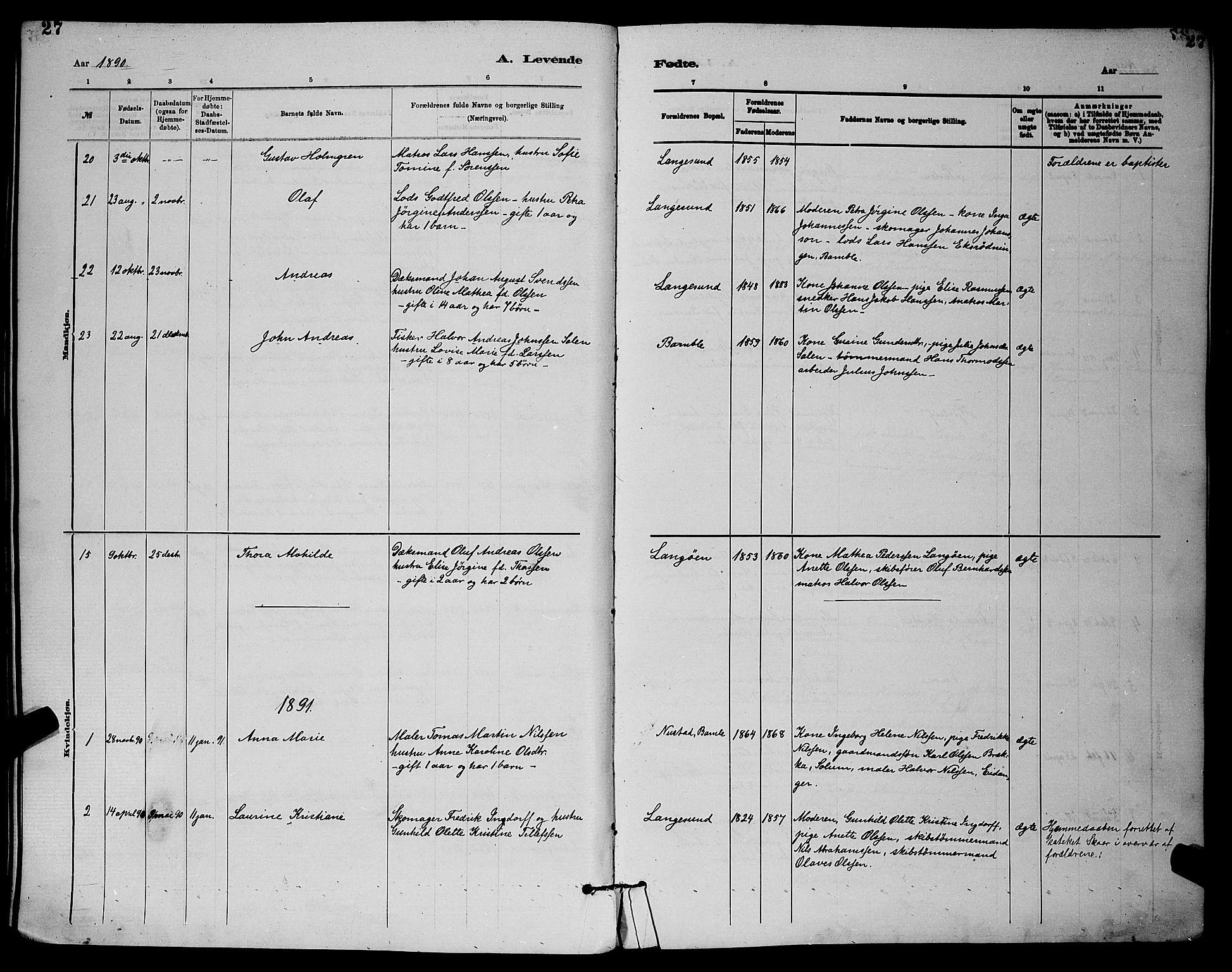 SAKO, Langesund kirkebøker, G/Ga/L0005: Klokkerbok nr. 5, 1884-1898, s. 27