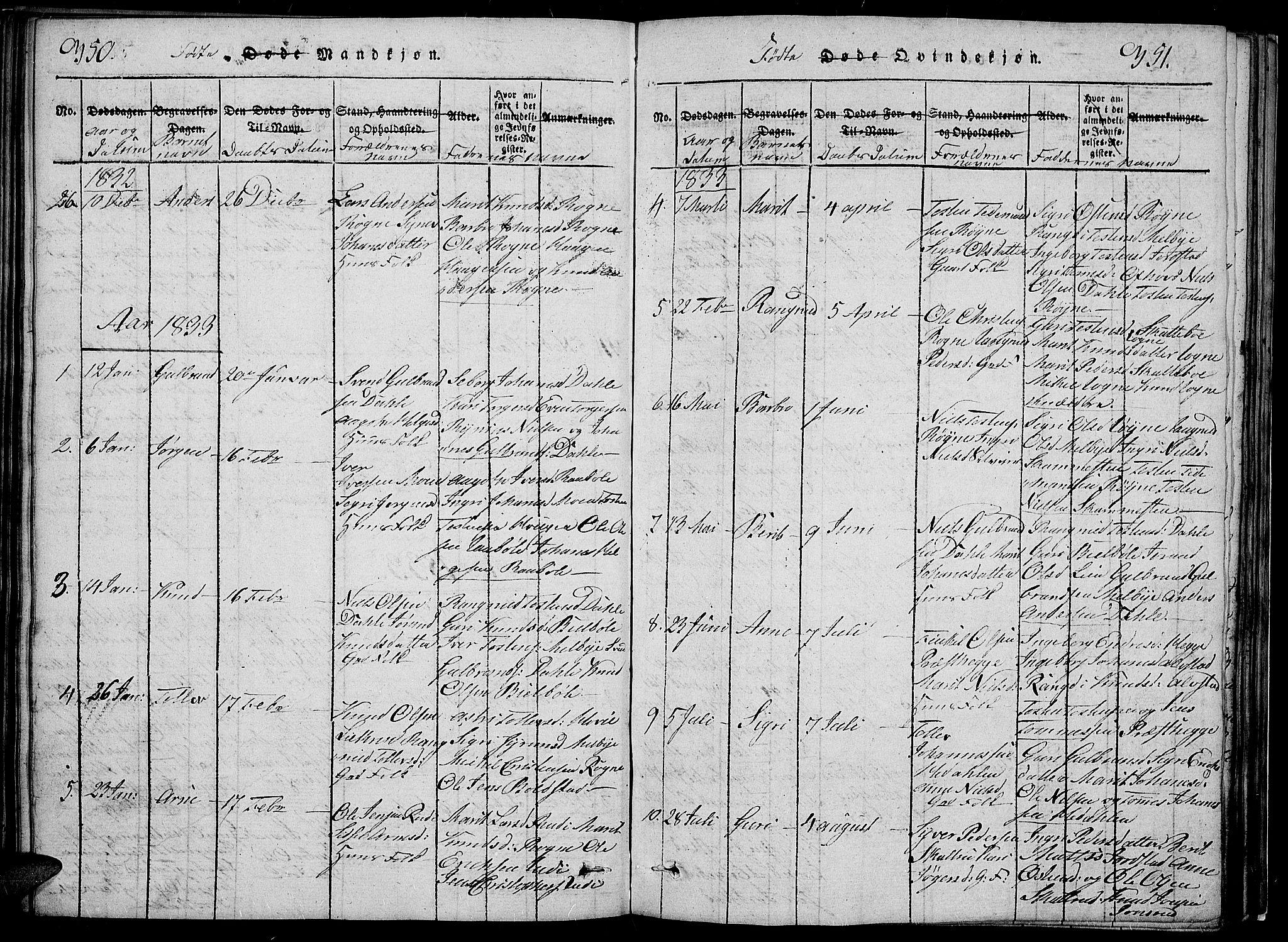 SAH, Slidre prestekontor, Klokkerbok nr. 2, 1814-1839, s. 350-351