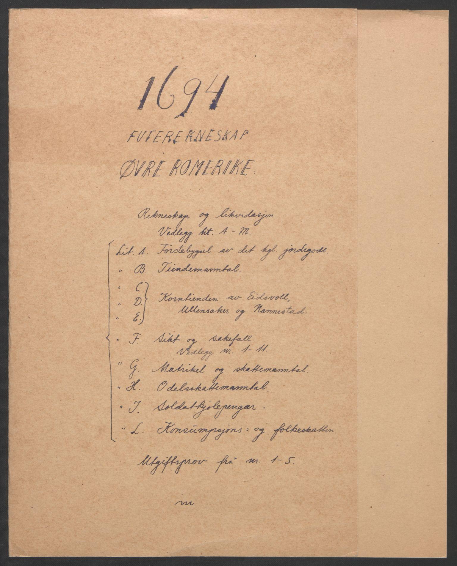 RA, Rentekammeret inntil 1814, Reviderte regnskaper, Fogderegnskap, R12/L0706: Fogderegnskap Øvre Romerike, 1694, s. 2