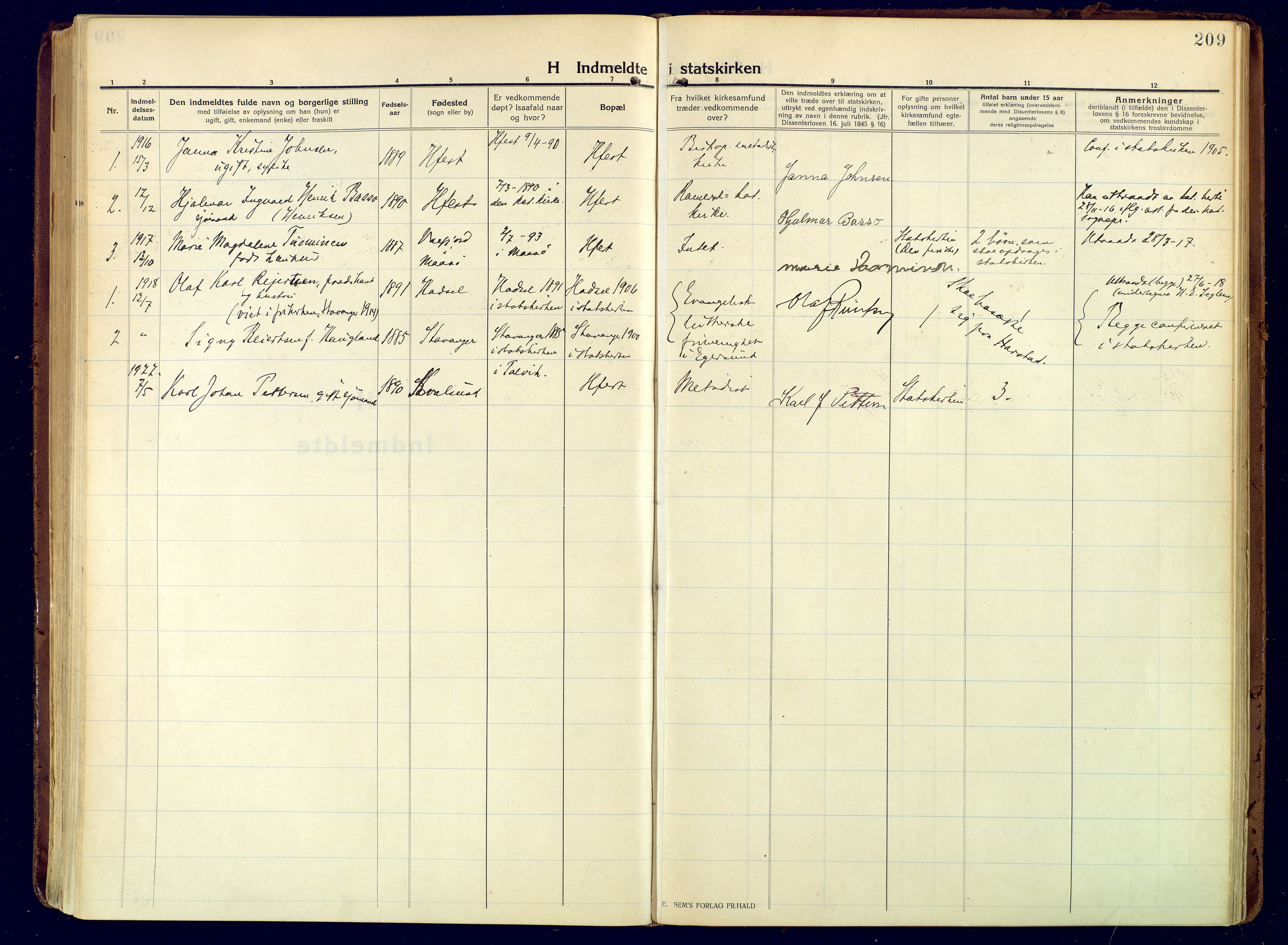 SATØ, Hammerfest sokneprestembete, Ministerialbok nr. 15, 1916-1923, s. 209