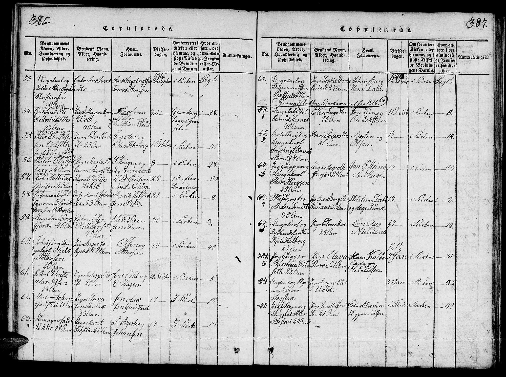 SAT, Ministerialprotokoller, klokkerbøker og fødselsregistre - Sør-Trøndelag, 601/L0043: Ministerialbok nr. 601A11, 1815-1821, s. 386-387
