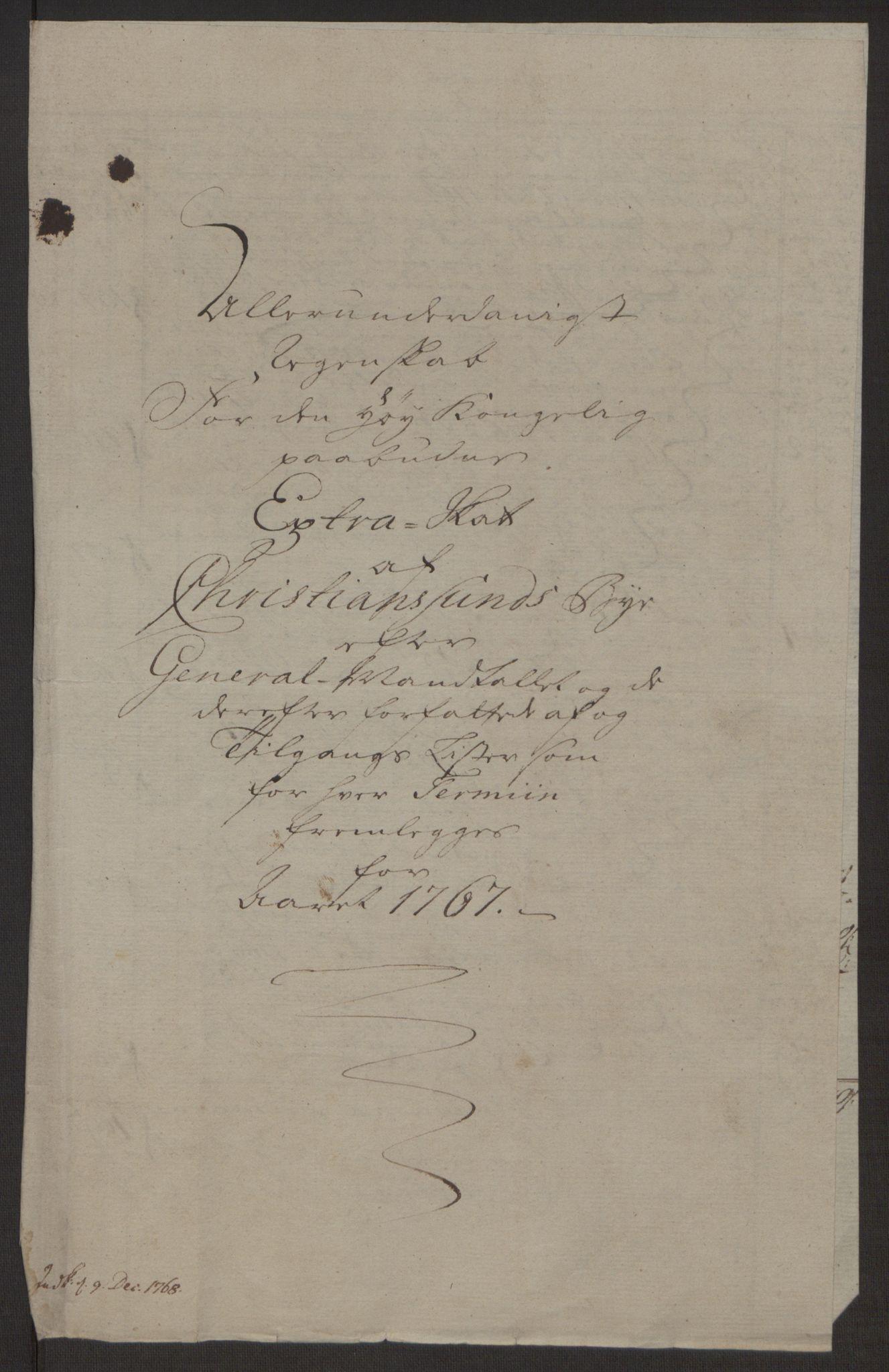 RA, Rentekammeret inntil 1814, Reviderte regnskaper, Byregnskaper, R/Rr/L0495: [R1] Kontribusjonsregnskap, 1762-1772, s. 130
