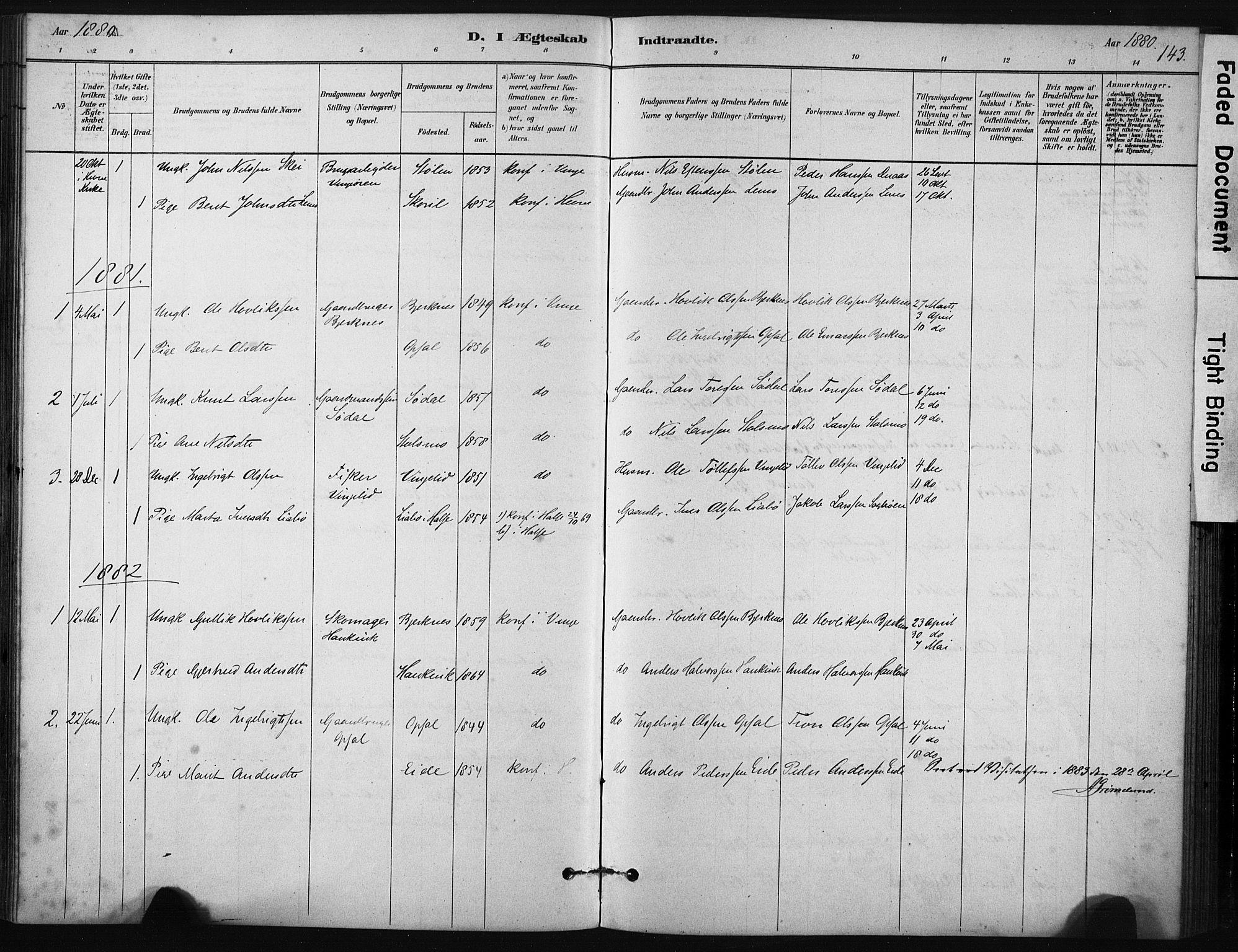 SAT, Ministerialprotokoller, klokkerbøker og fødselsregistre - Sør-Trøndelag, 631/L0512: Ministerialbok nr. 631A01, 1879-1912, s. 143