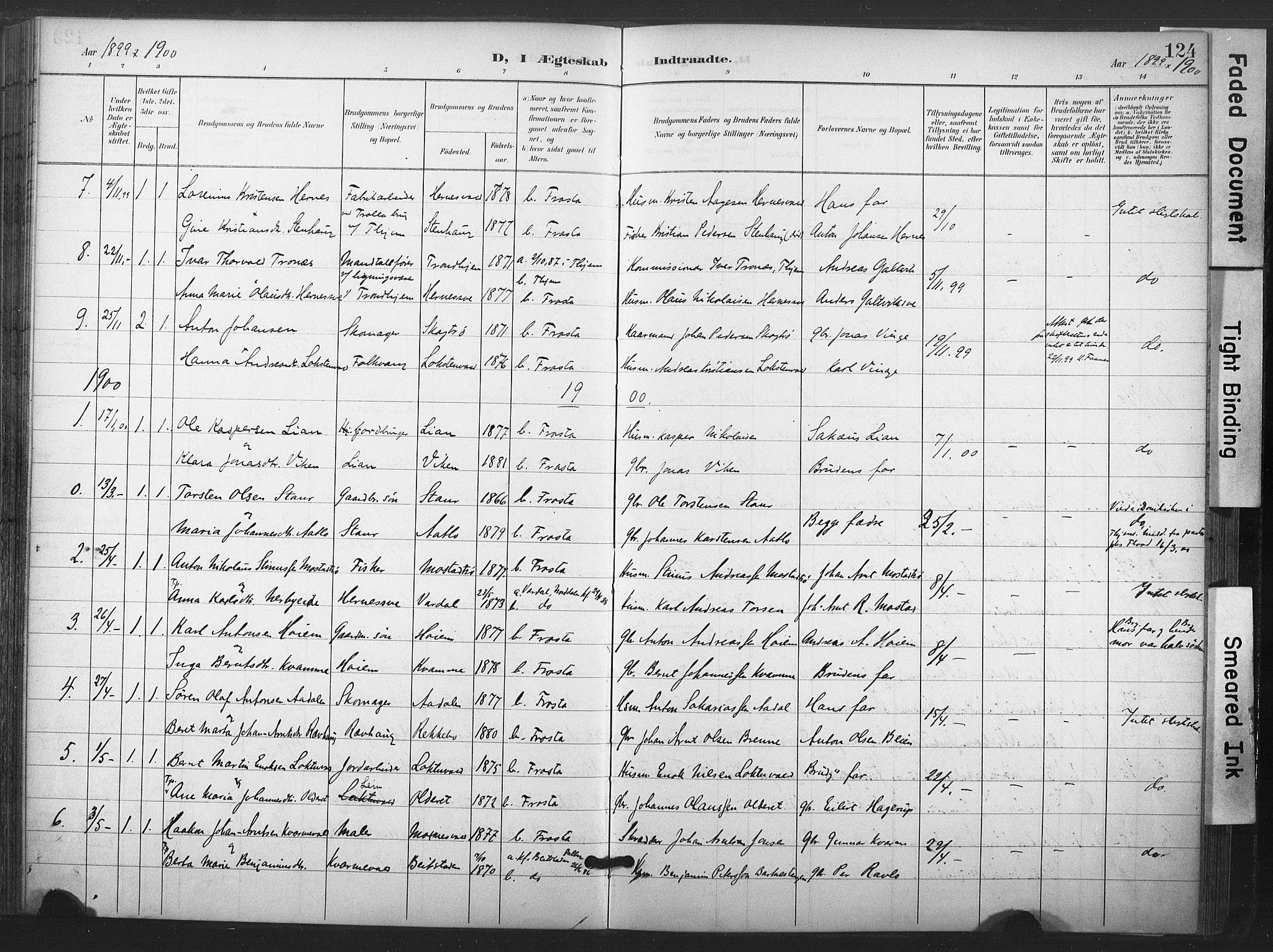 SAT, Ministerialprotokoller, klokkerbøker og fødselsregistre - Nord-Trøndelag, 713/L0122: Ministerialbok nr. 713A11, 1899-1910, s. 124