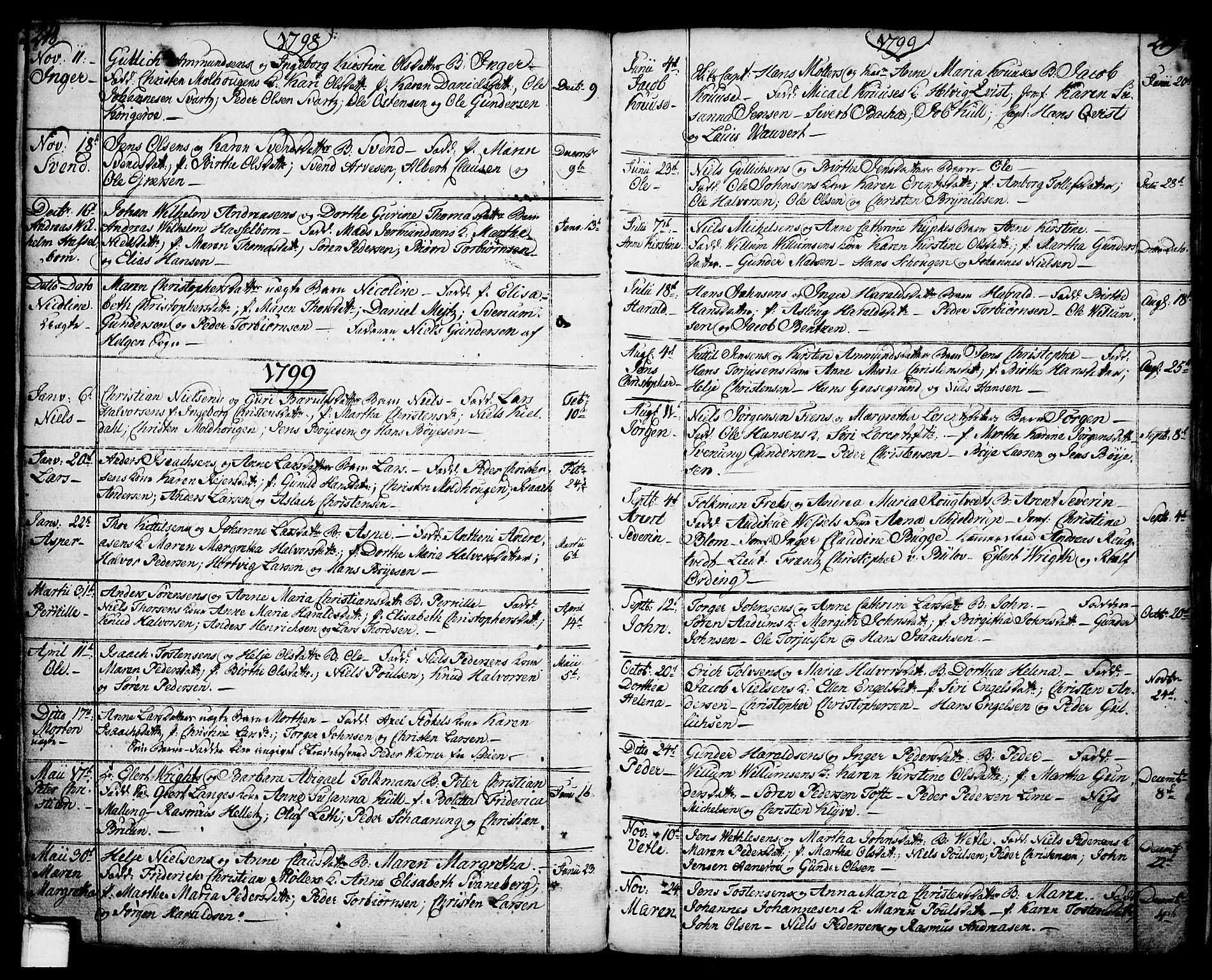 SAKO, Porsgrunn kirkebøker , F/Fa/L0001: Ministerialbok nr. 1, 1764-1814, s. 218-219