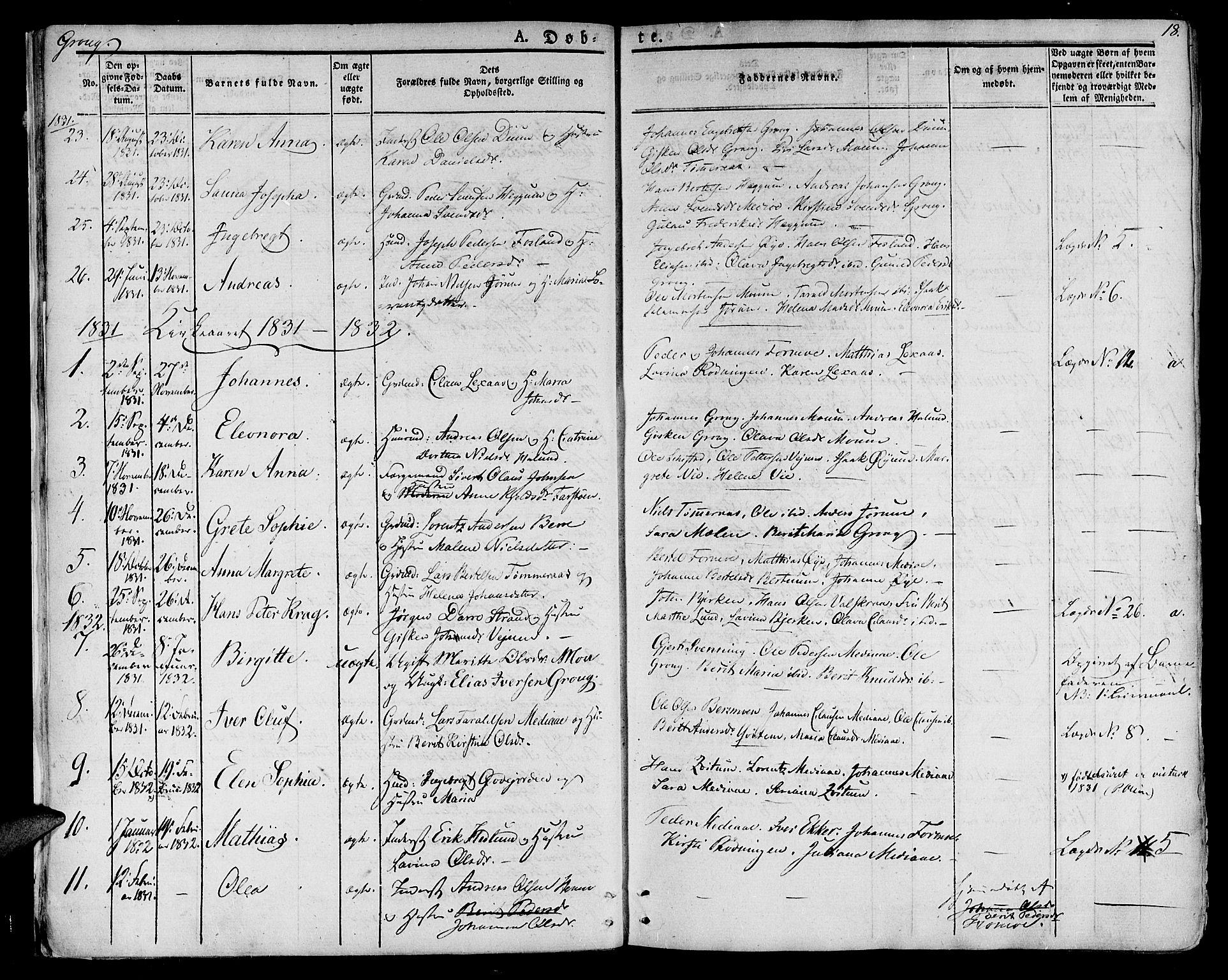 SAT, Ministerialprotokoller, klokkerbøker og fødselsregistre - Nord-Trøndelag, 758/L0510: Ministerialbok nr. 758A01 /1, 1821-1841, s. 18