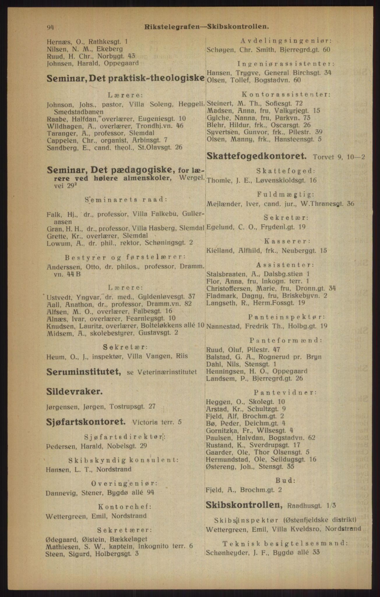 RA, Kristiania adressebok (publikasjon)*, 1915, s. 94