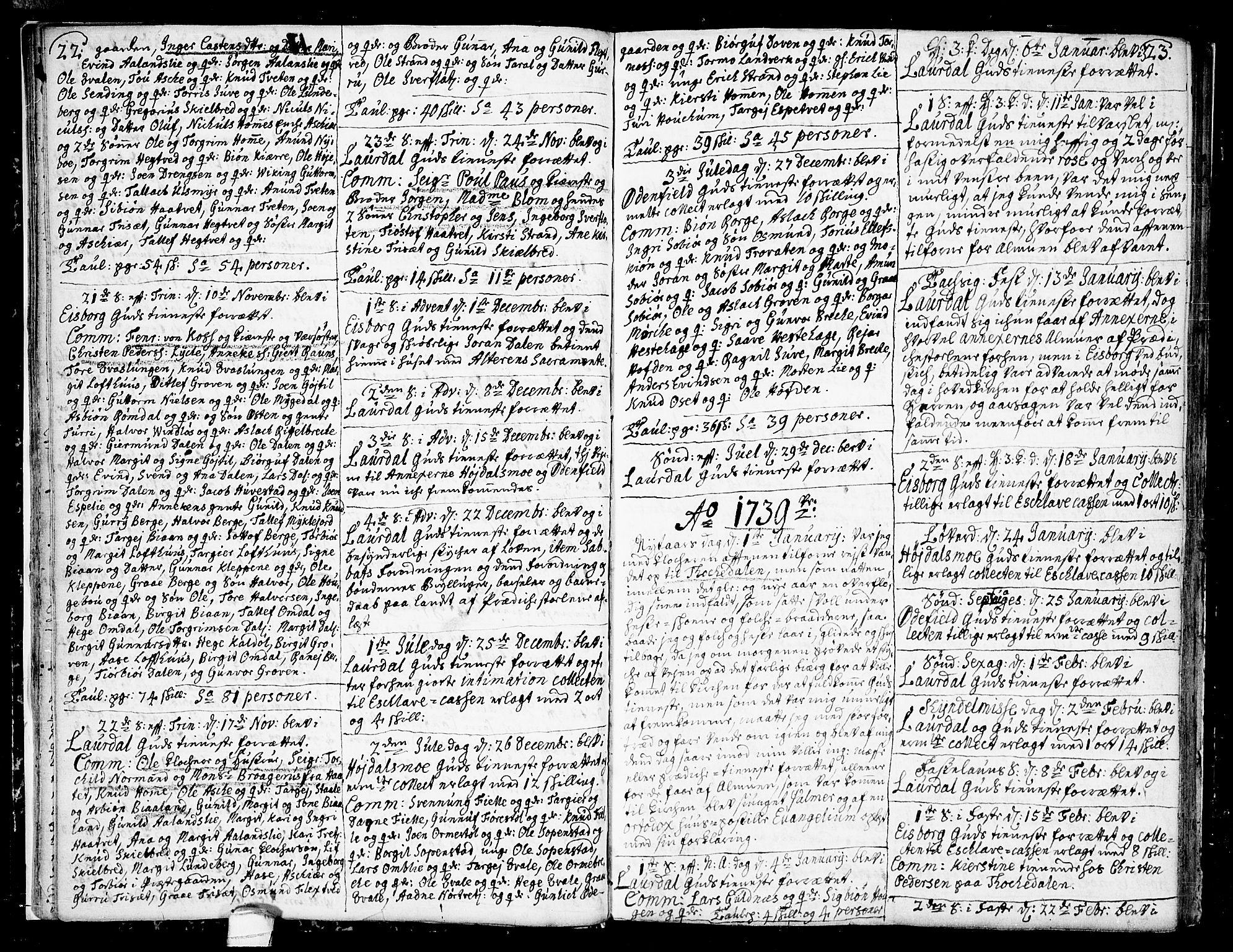 SAKO, Lårdal kirkebøker, F/Fa/L0002: Ministerialbok nr. I 2, 1734-1754, s. 22-23