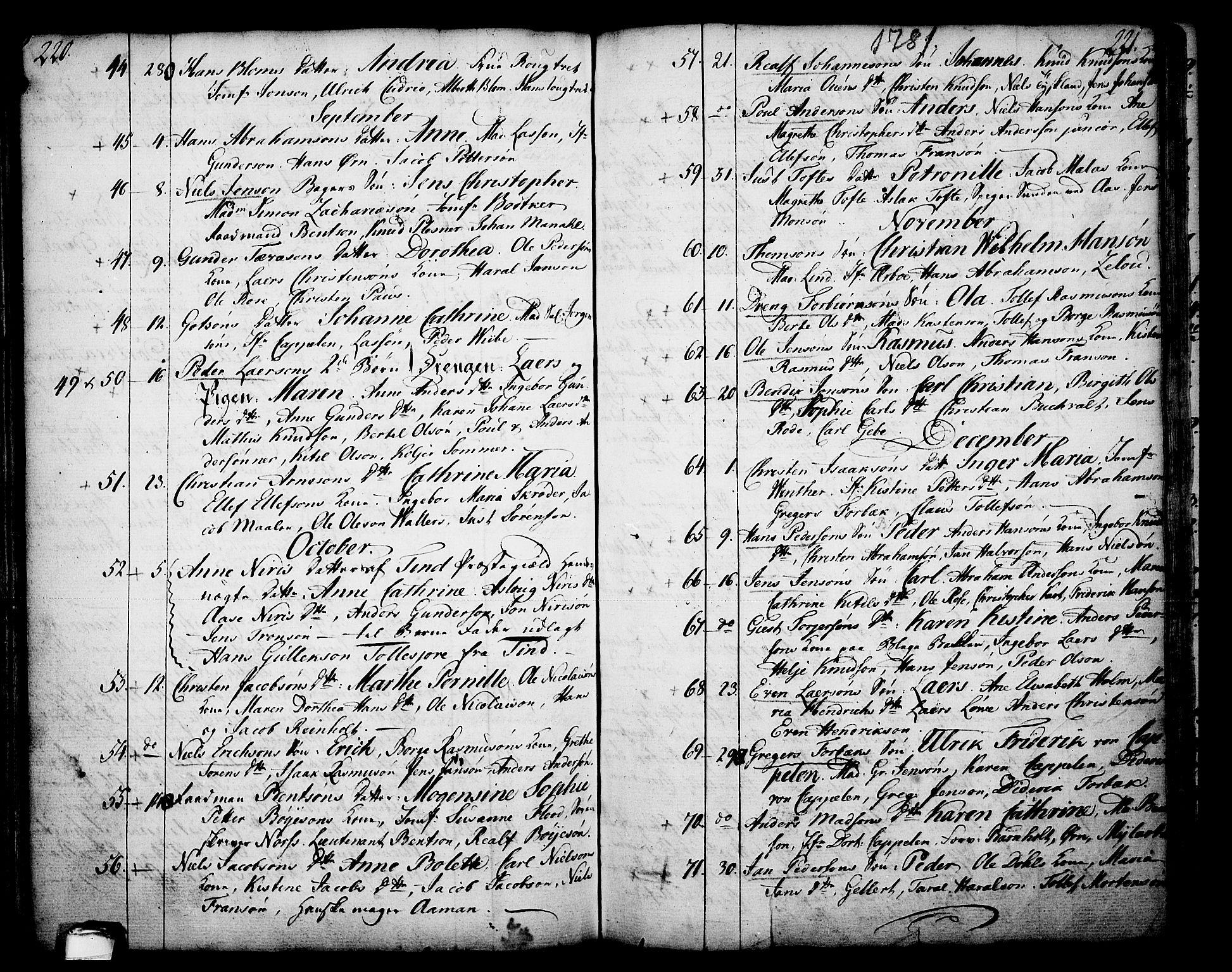 SAKO, Skien kirkebøker, F/Fa/L0003: Ministerialbok nr. 3, 1755-1791, s. 220-221