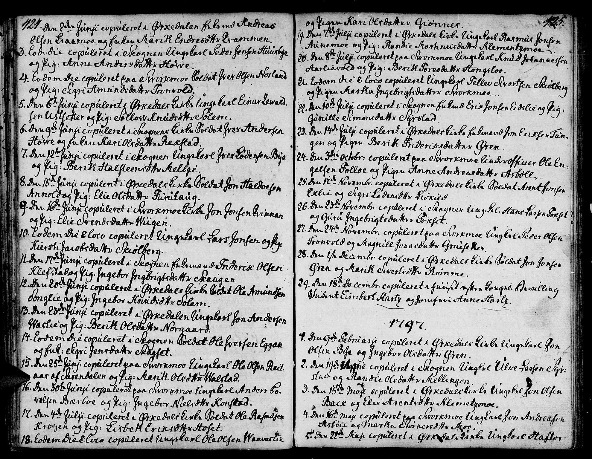 SAT, Ministerialprotokoller, klokkerbøker og fødselsregistre - Sør-Trøndelag, 668/L0802: Ministerialbok nr. 668A02, 1776-1799, s. 424-425