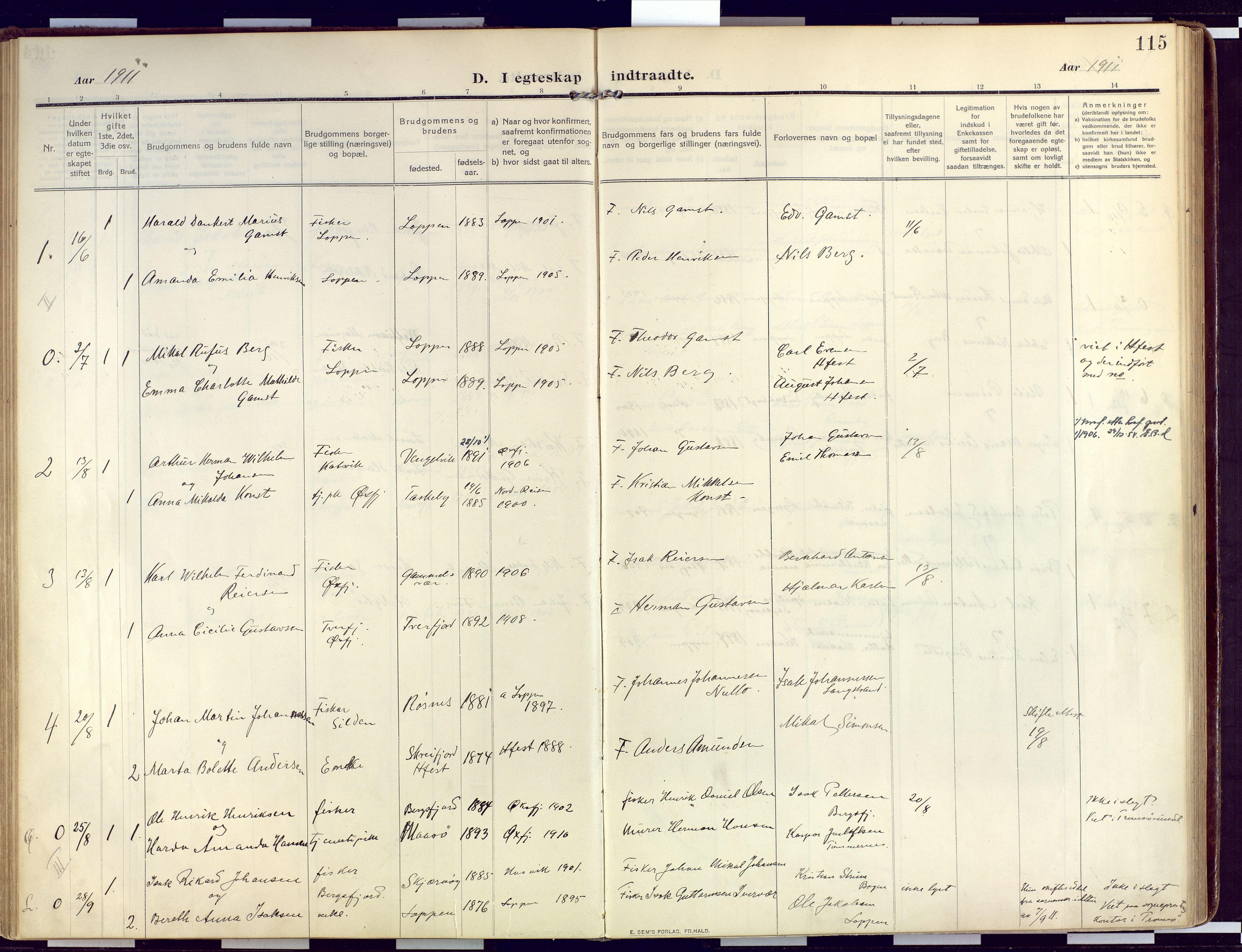 SATØ, Loppa sokneprestkontor, H/Ha/L0011kirke: Ministerialbok nr. 11, 1909-1919, s. 115