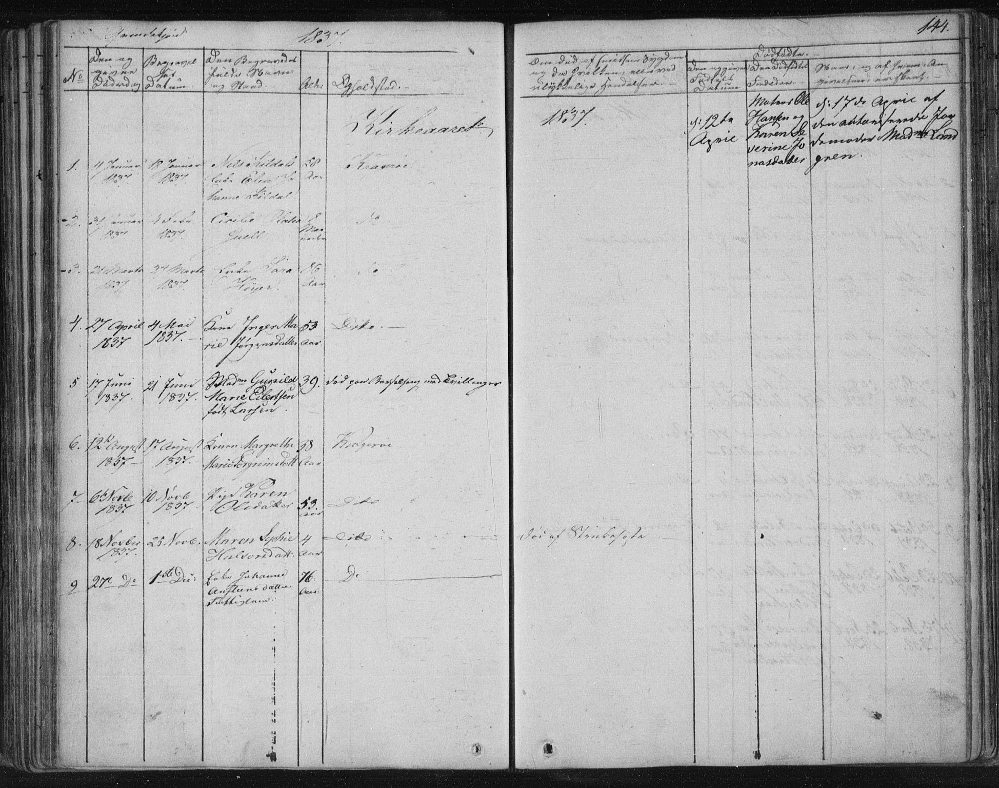 SAKO, Kragerø kirkebøker, F/Fa/L0005: Ministerialbok nr. 5, 1832-1847, s. 144