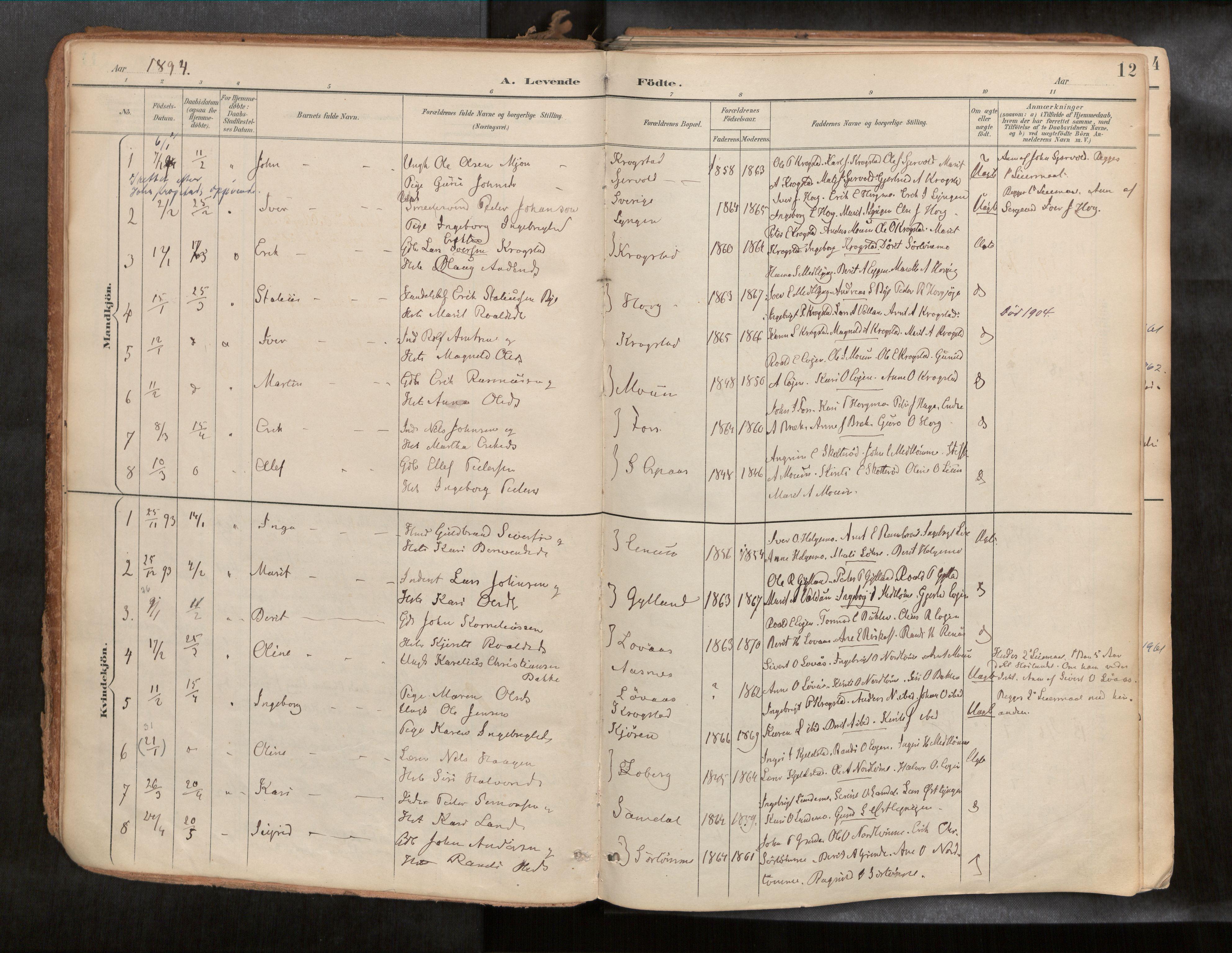 SAT, Ministerialprotokoller, klokkerbøker og fødselsregistre - Sør-Trøndelag, 692/L1105b: Ministerialbok nr. 692A06, 1891-1934, s. 12