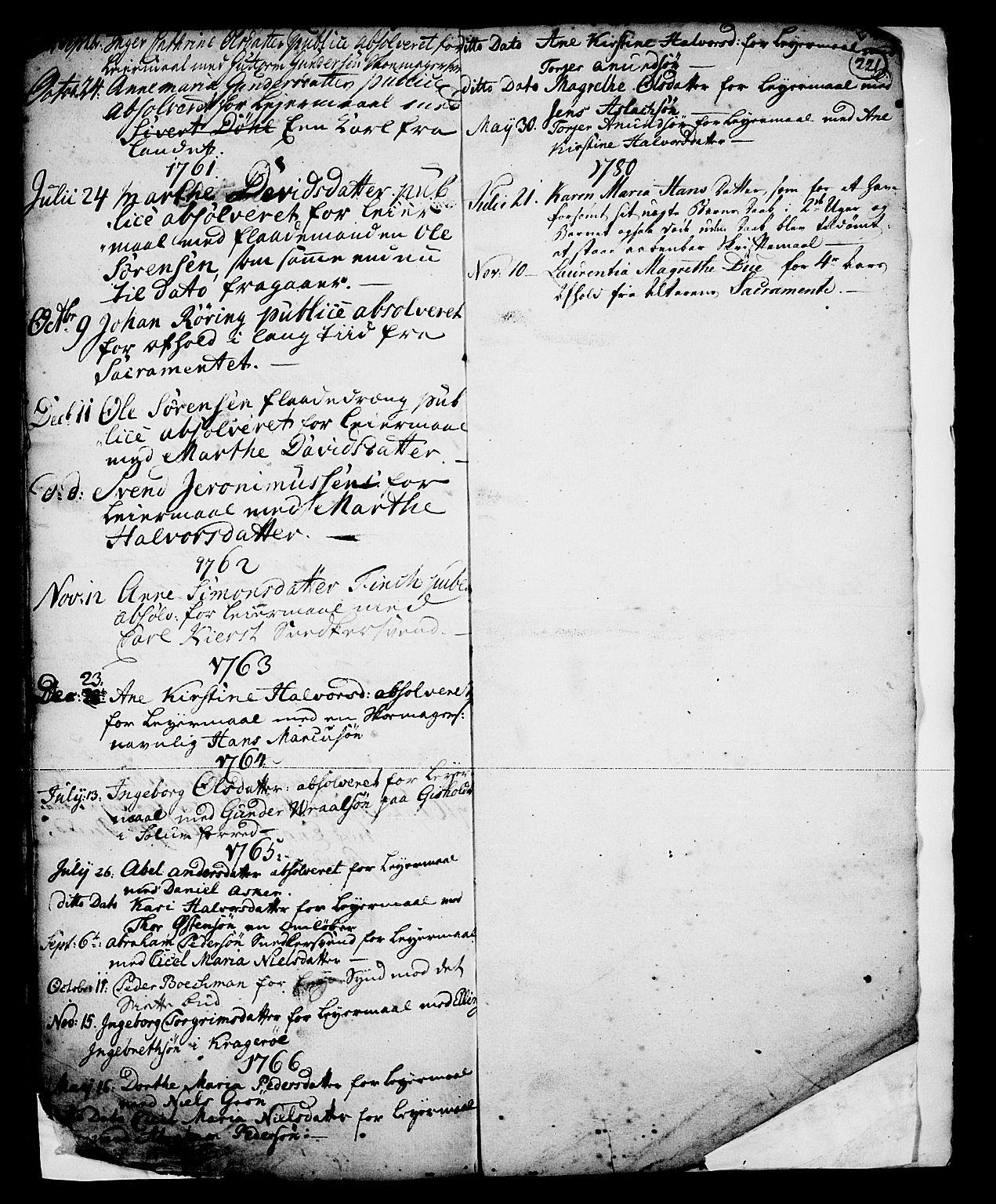 SAKO, Skien kirkebøker, G/Ga/L0001: Klokkerbok nr. 1, 1756-1791, s. 221