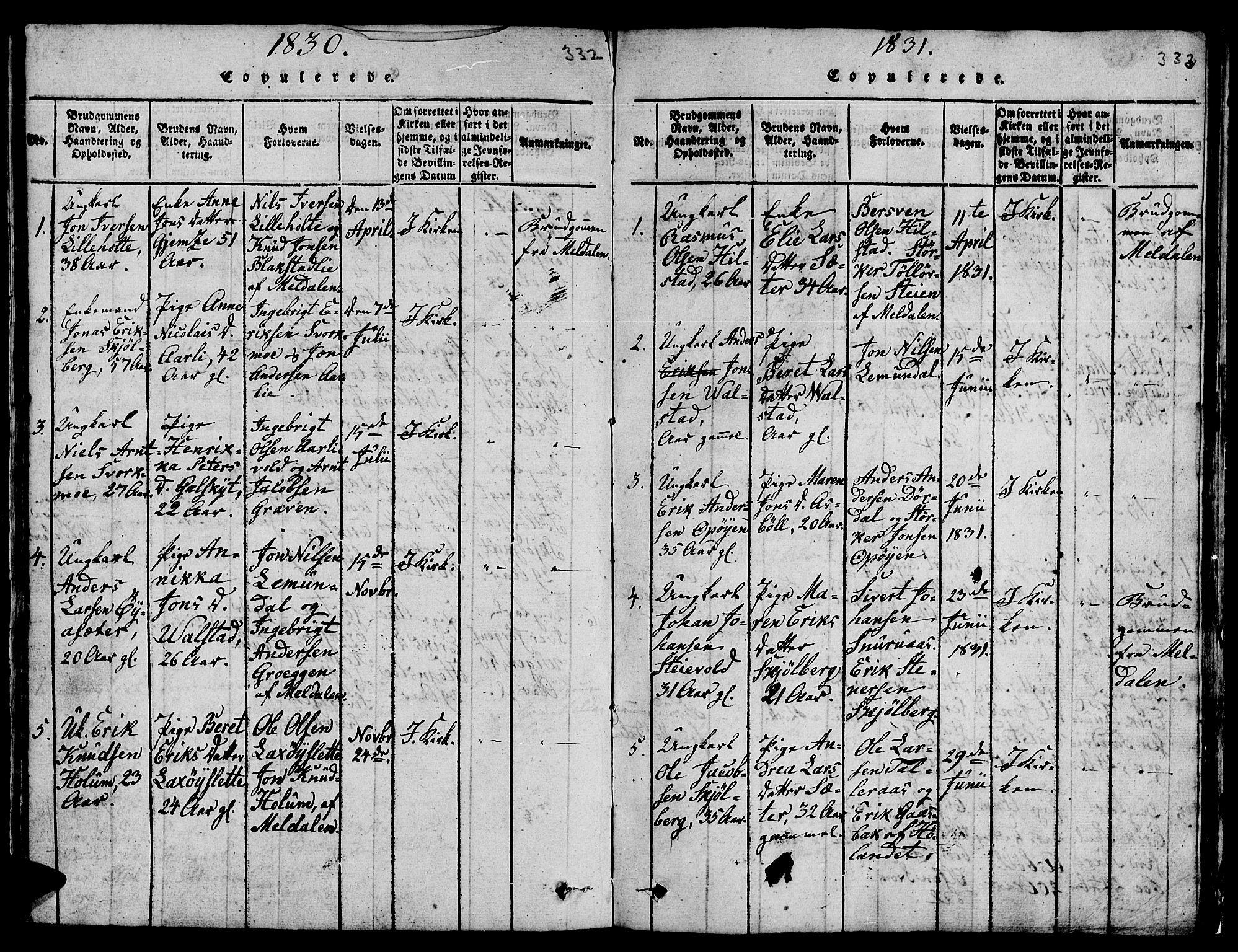SAT, Ministerialprotokoller, klokkerbøker og fødselsregistre - Sør-Trøndelag, 671/L0842: Klokkerbok nr. 671C01, 1816-1867, s. 332-333
