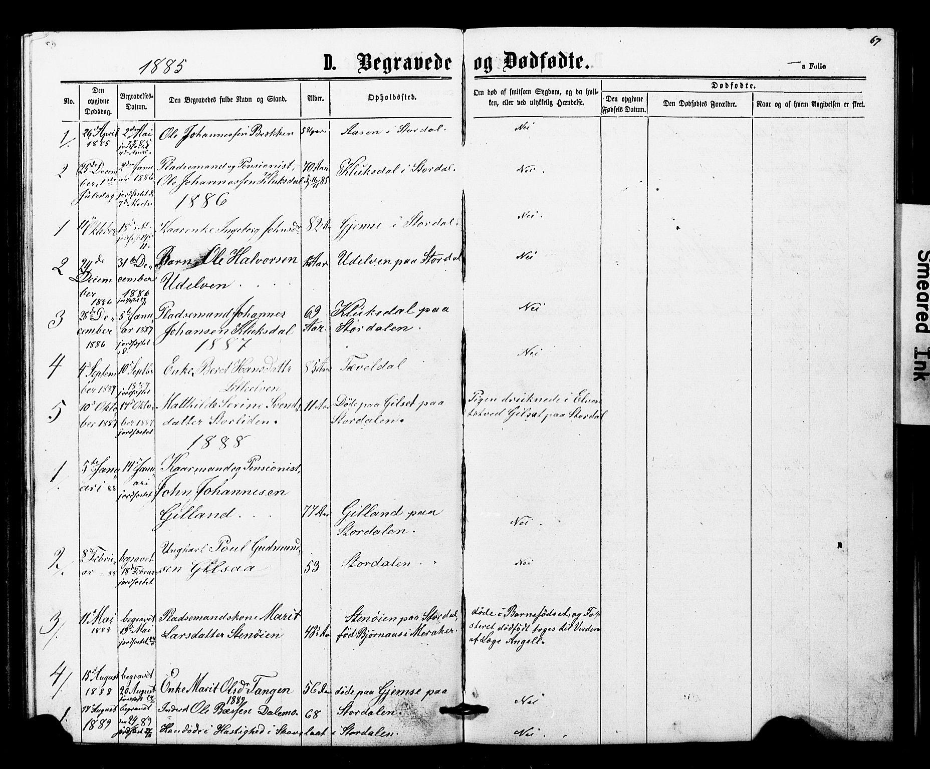 SAT, Ministerialprotokoller, klokkerbøker og fødselsregistre - Nord-Trøndelag, 707/L0052: Klokkerbok nr. 707C01, 1864-1897, s. 67