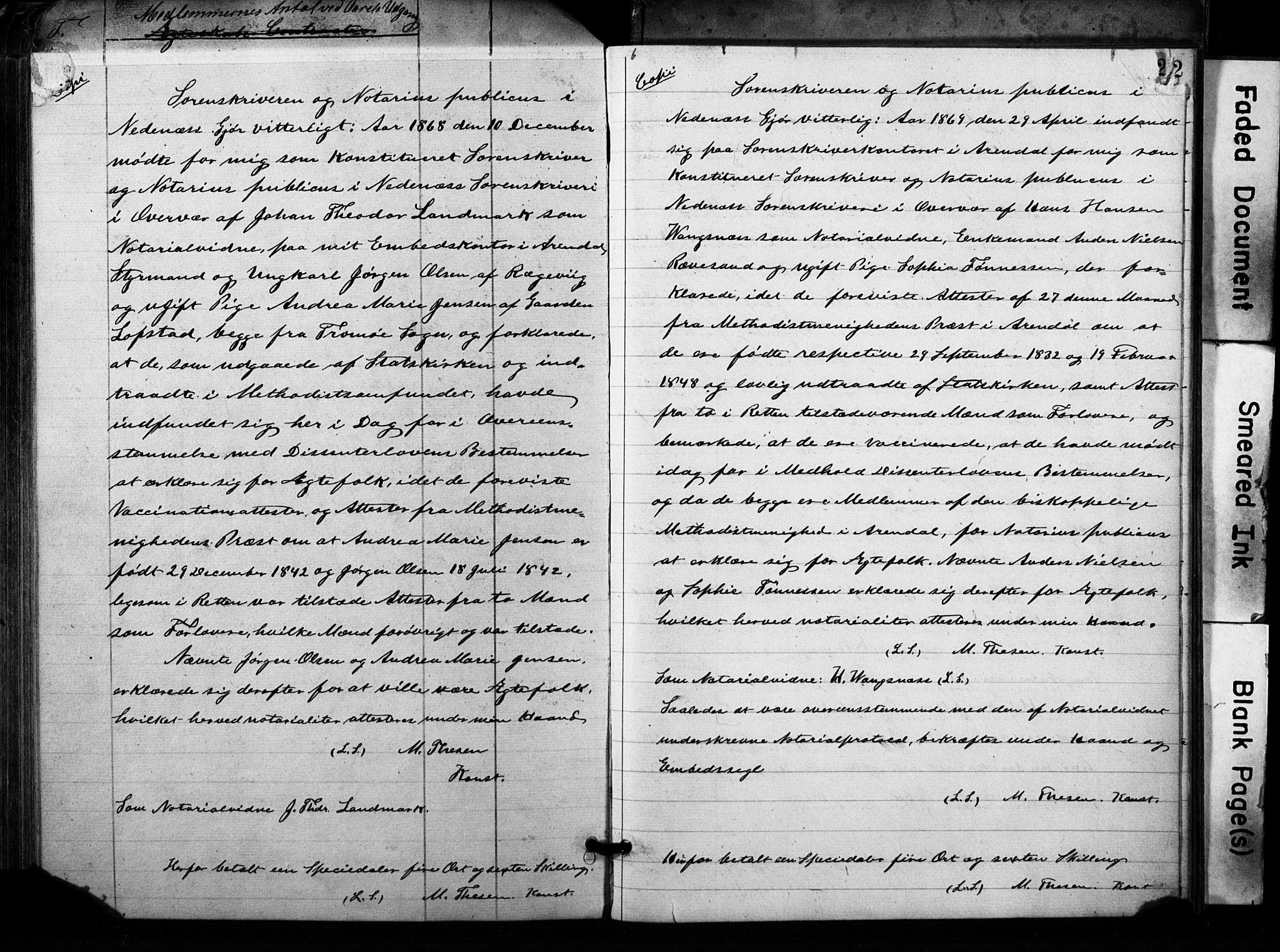 SAK, Metodistmenigheten, Arendal, F/Fa/L0001: Dissenterprotokoll nr. F-2, 1867-1879, s. 240