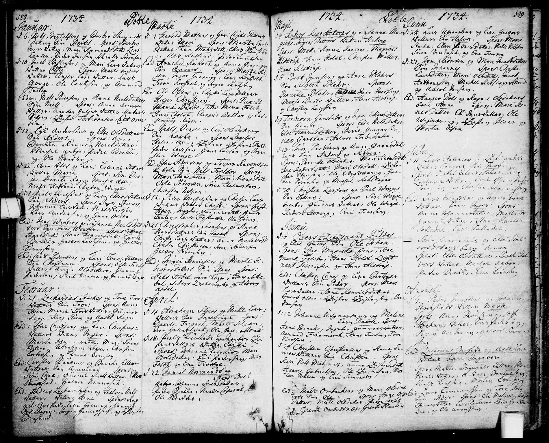 SAKO, Bamble kirkebøker, F/Fa/L0001: Ministerialbok nr. I 1, 1702-1774, s. 188-189