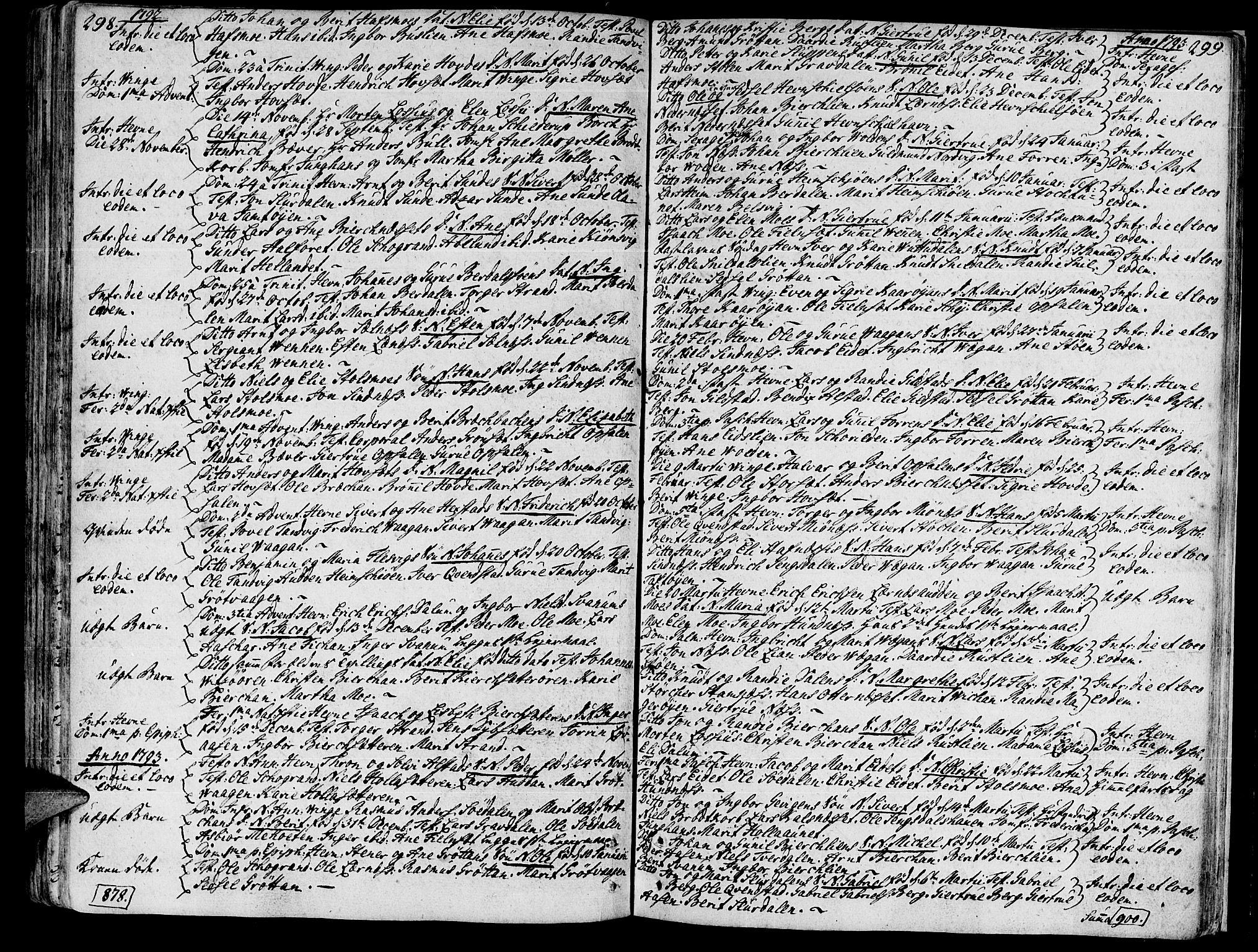 SAT, Ministerialprotokoller, klokkerbøker og fødselsregistre - Sør-Trøndelag, 630/L0489: Ministerialbok nr. 630A02, 1757-1794, s. 298-299