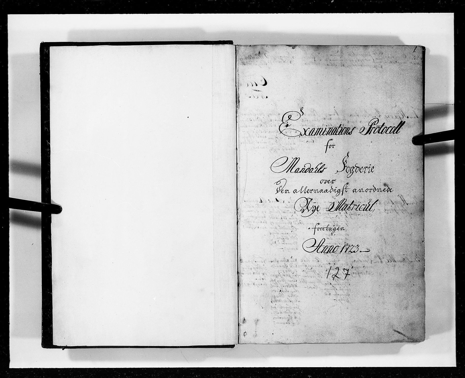 RA, Rentekammeret inntil 1814, Realistisk ordnet avdeling, N/Nb/Nbf/L0127: Mandal eksaminasjonsprotokoll, 1723, s. 1a