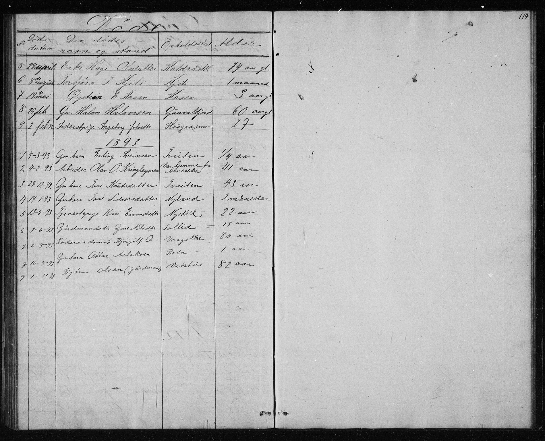 SAKO, Vinje kirkebøker, G/Gc/L0001: Klokkerbok nr. III 1, 1850-1893, s. 114