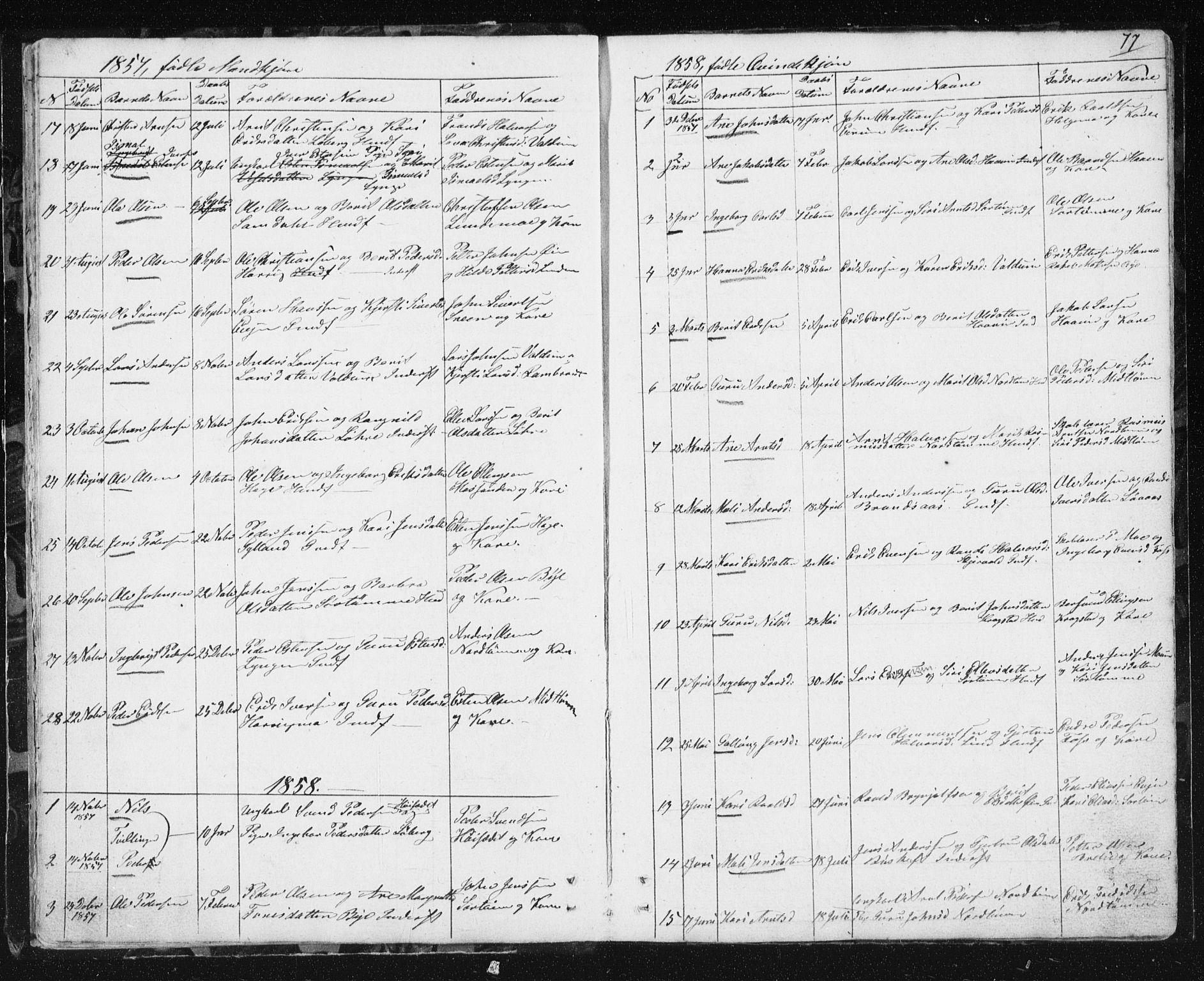 SAT, Ministerialprotokoller, klokkerbøker og fødselsregistre - Sør-Trøndelag, 692/L1110: Klokkerbok nr. 692C05, 1849-1889, s. 77
