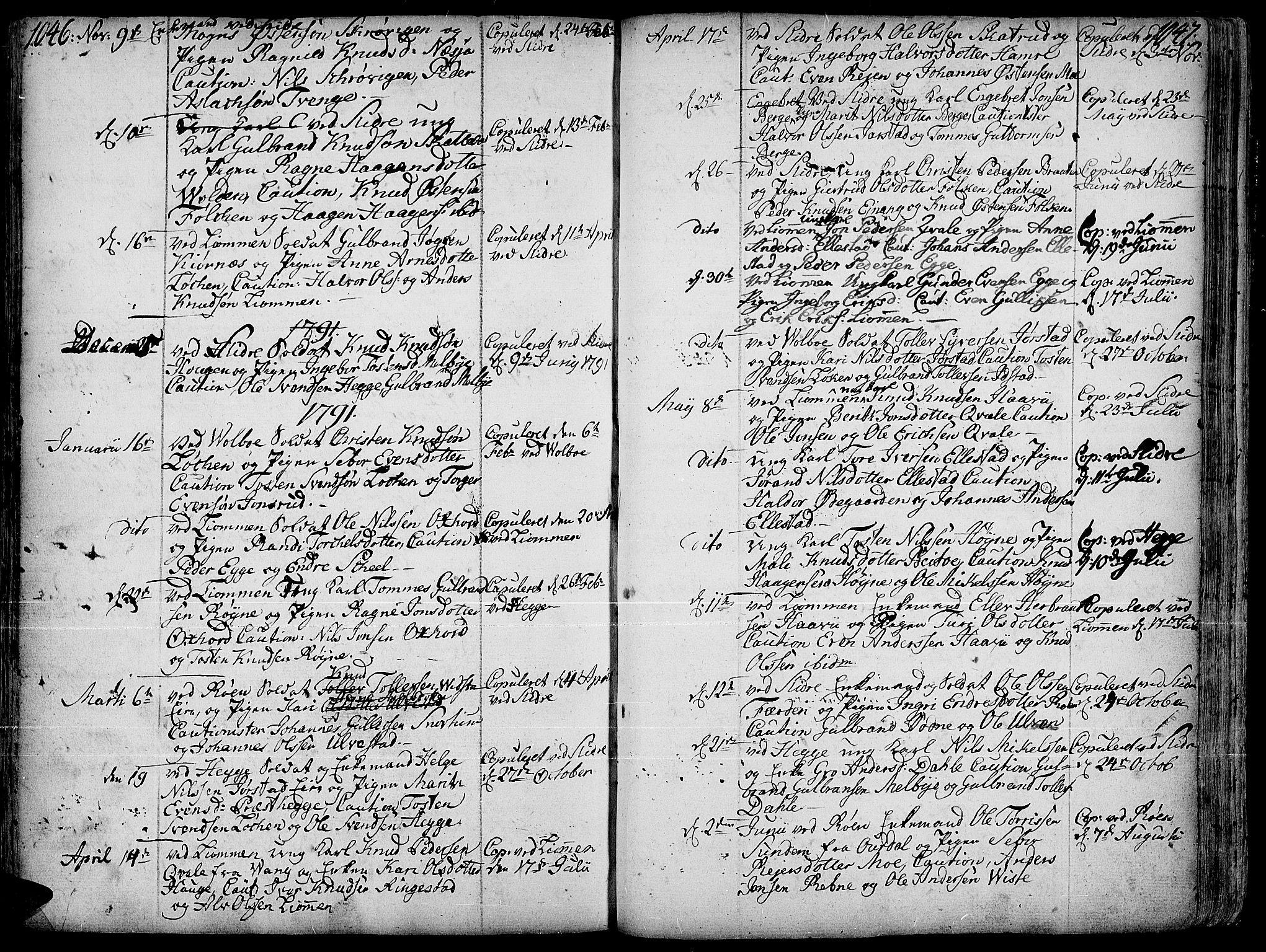 SAH, Slidre prestekontor, Ministerialbok nr. 1, 1724-1814, s. 1046-1047