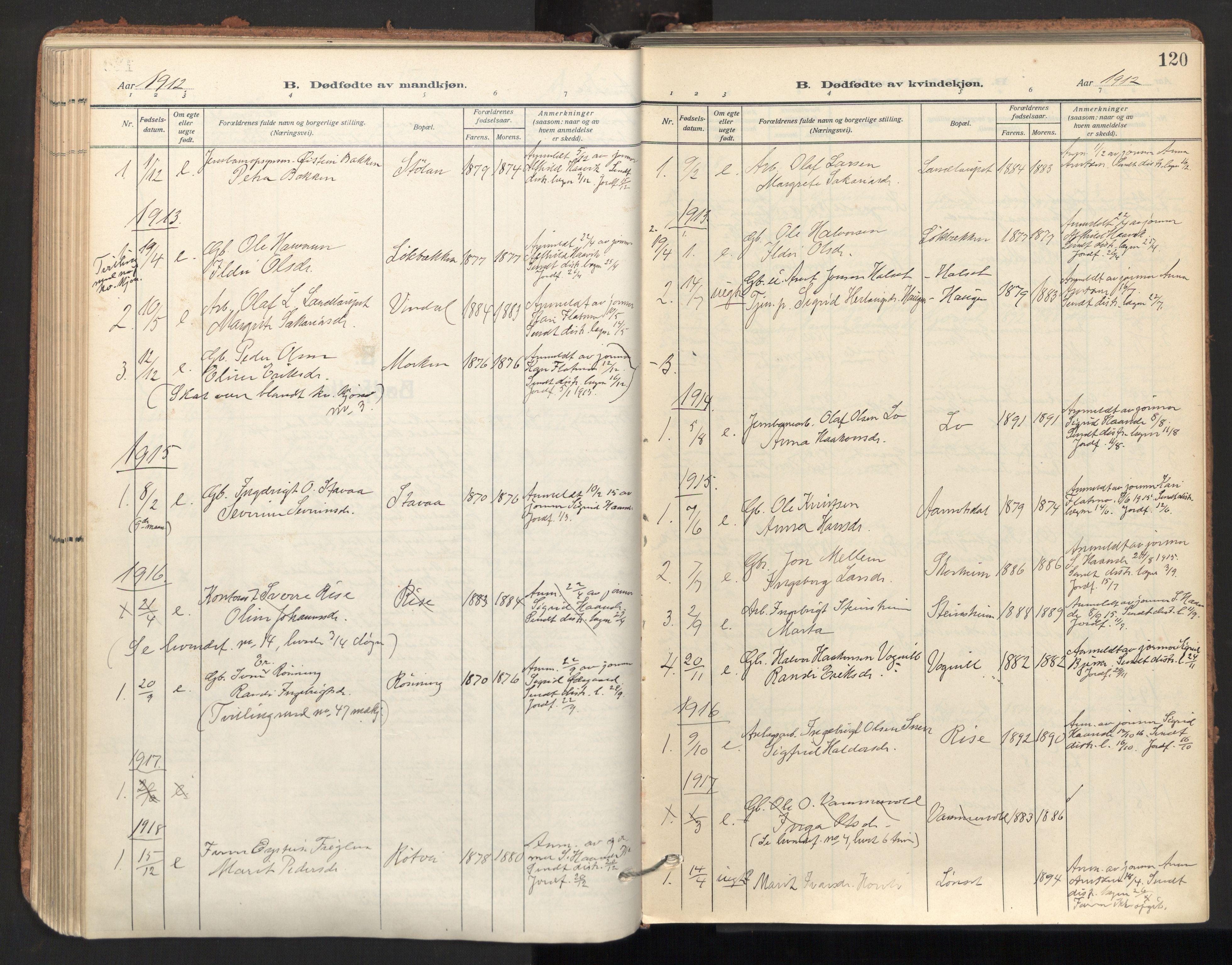 SAT, Ministerialprotokoller, klokkerbøker og fødselsregistre - Sør-Trøndelag, 678/L0909: Ministerialbok nr. 678A17, 1912-1930, s. 120