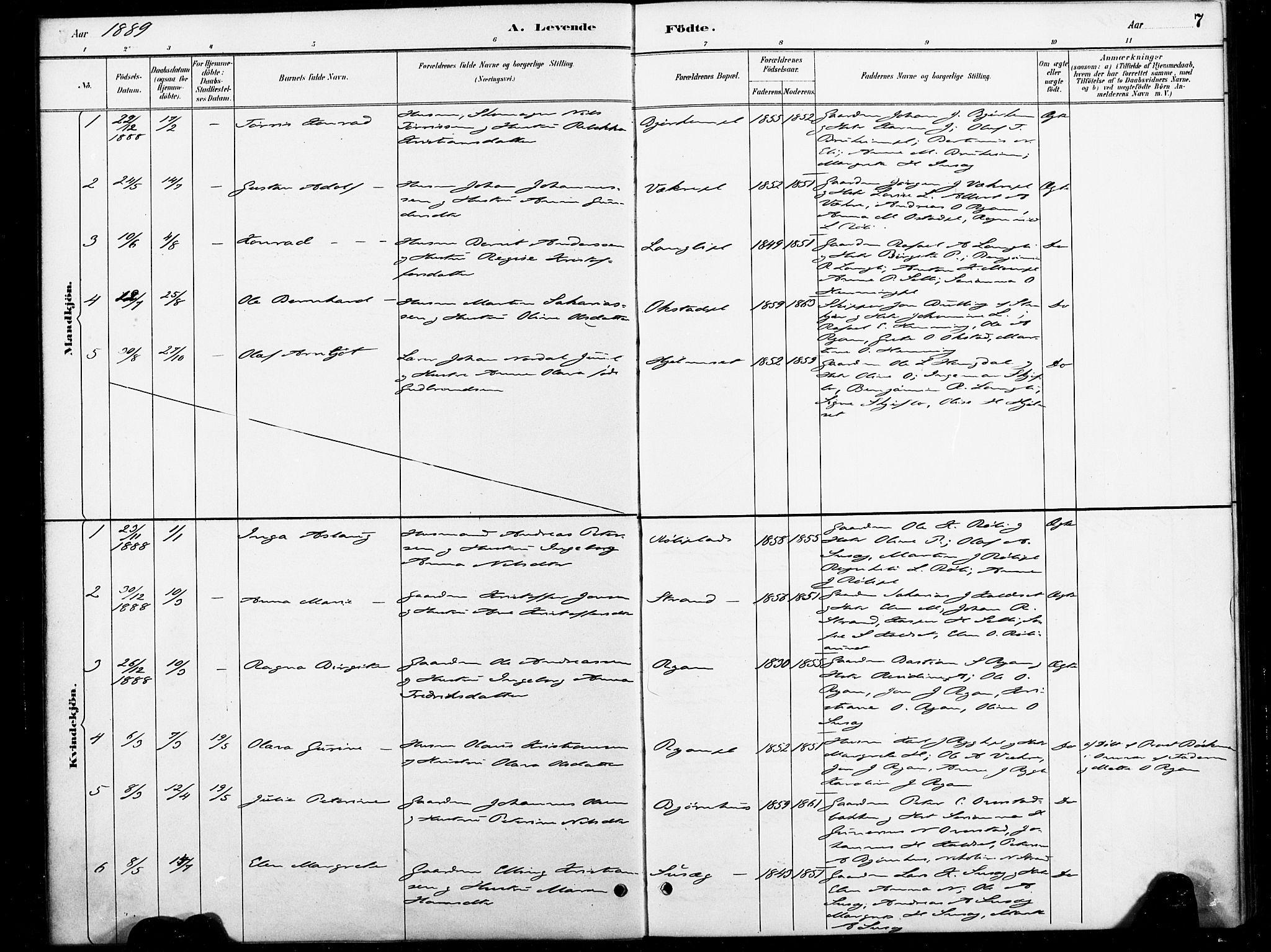 SAT, Ministerialprotokoller, klokkerbøker og fødselsregistre - Nord-Trøndelag, 738/L0364: Ministerialbok nr. 738A01, 1884-1902, s. 7