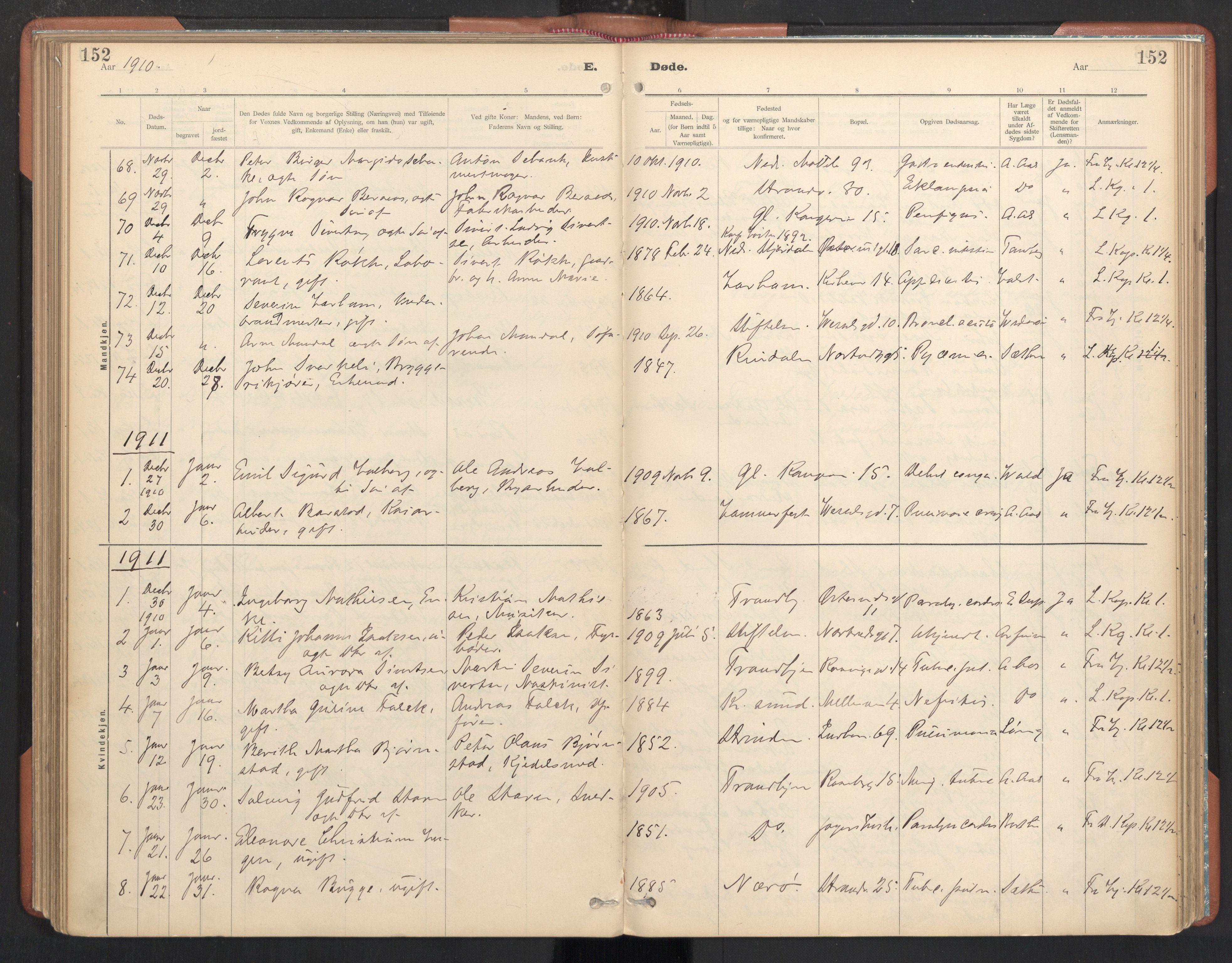 SAT, Ministerialprotokoller, klokkerbøker og fødselsregistre - Sør-Trøndelag, 605/L0244: Ministerialbok nr. 605A06, 1908-1954, s. 152