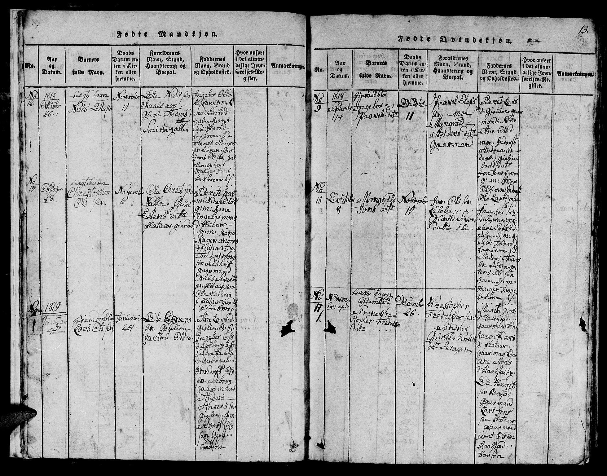SAT, Ministerialprotokoller, klokkerbøker og fødselsregistre - Sør-Trøndelag, 613/L0393: Klokkerbok nr. 613C01, 1816-1886, s. 13