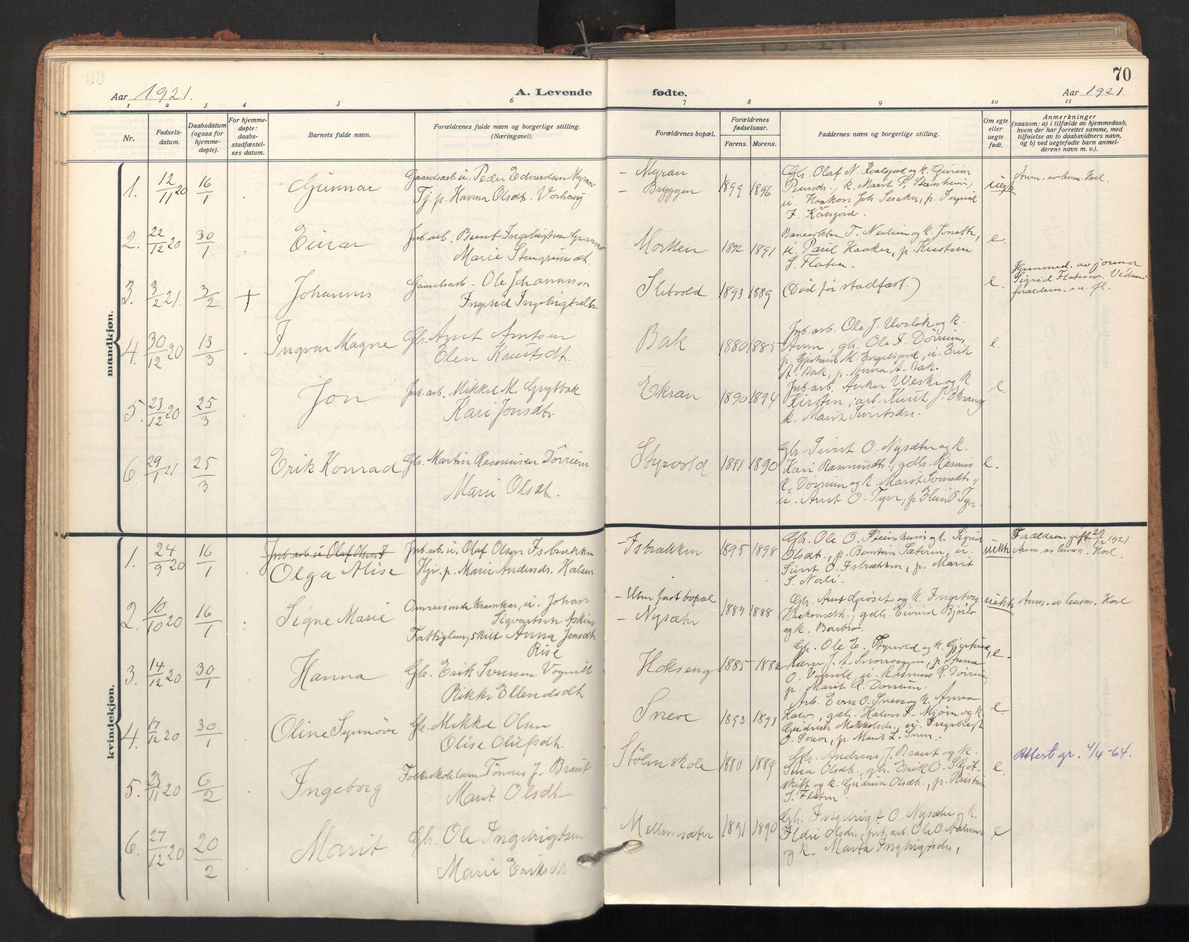 SAT, Ministerialprotokoller, klokkerbøker og fødselsregistre - Sør-Trøndelag, 678/L0909: Ministerialbok nr. 678A17, 1912-1930, s. 70