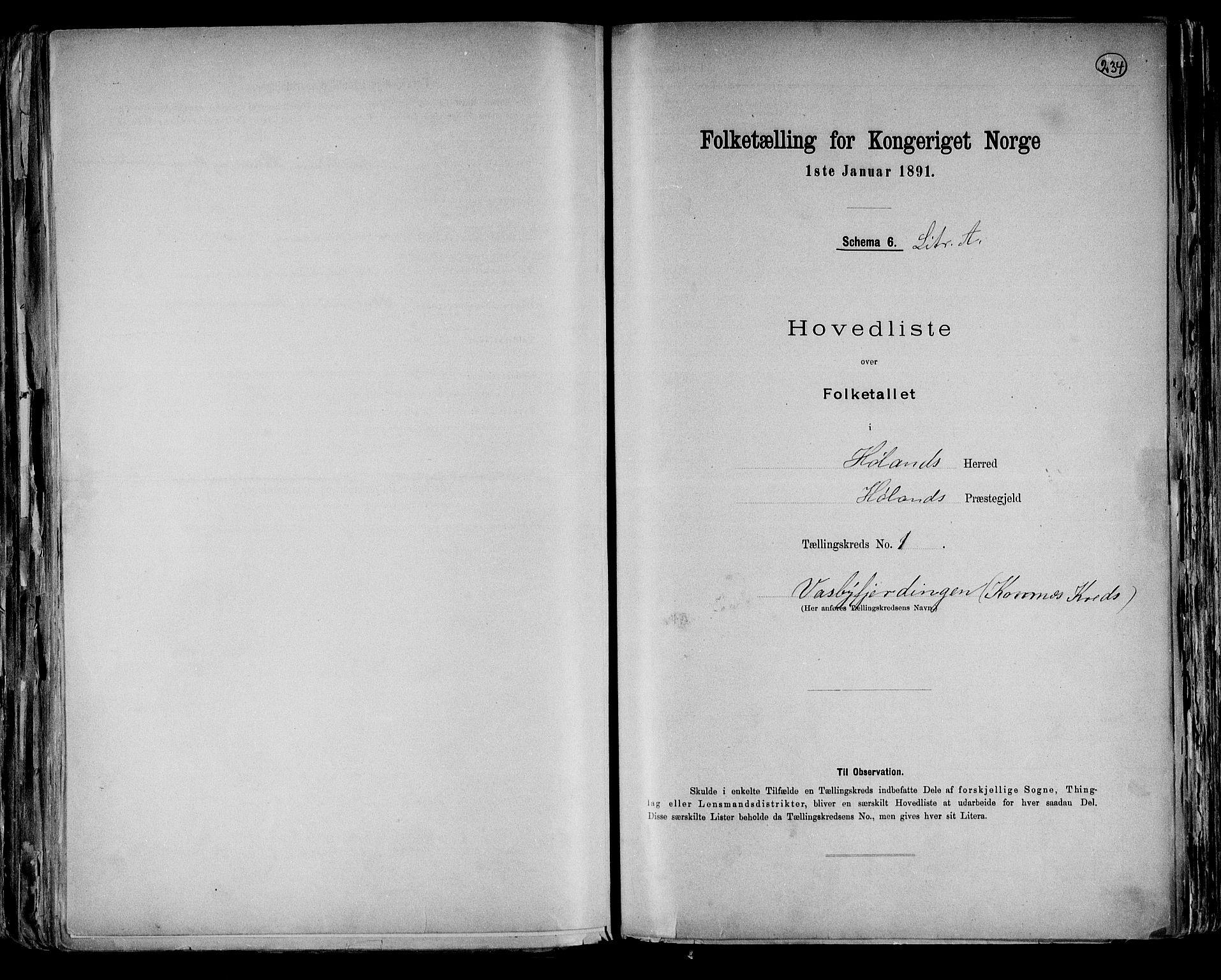 RA, Folketelling 1891 for 0221 Høland herred, 1891, s. 4