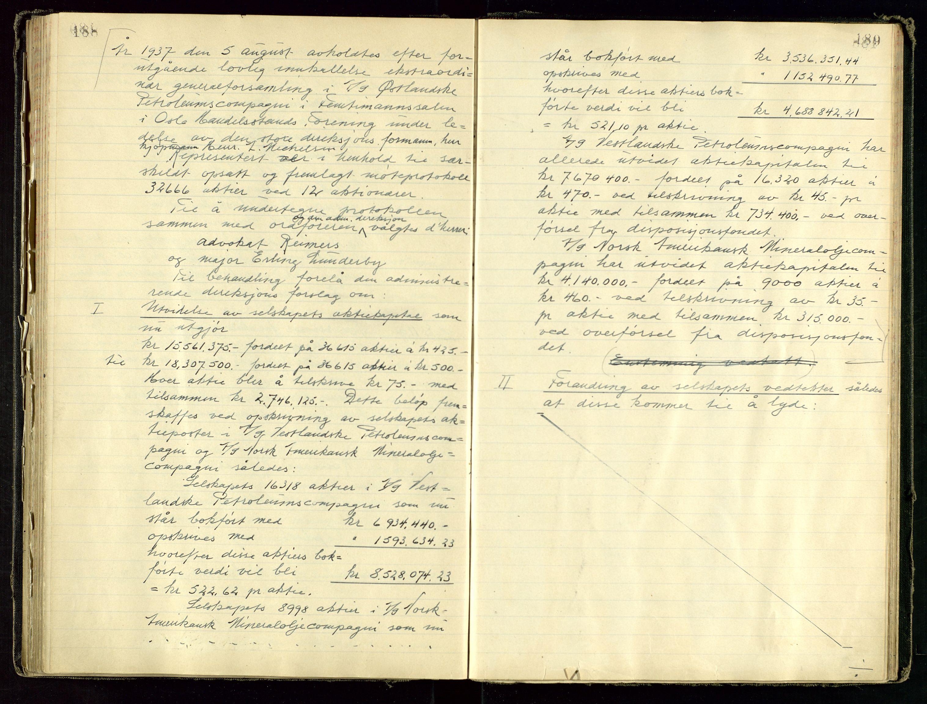 SAST, PA 1534 - Østlandske Petroleumscompagni A/S, A/Aa/L0001: Generalforsamlinger og direksjonsprotokoller., 1892-1960, s. 188-189