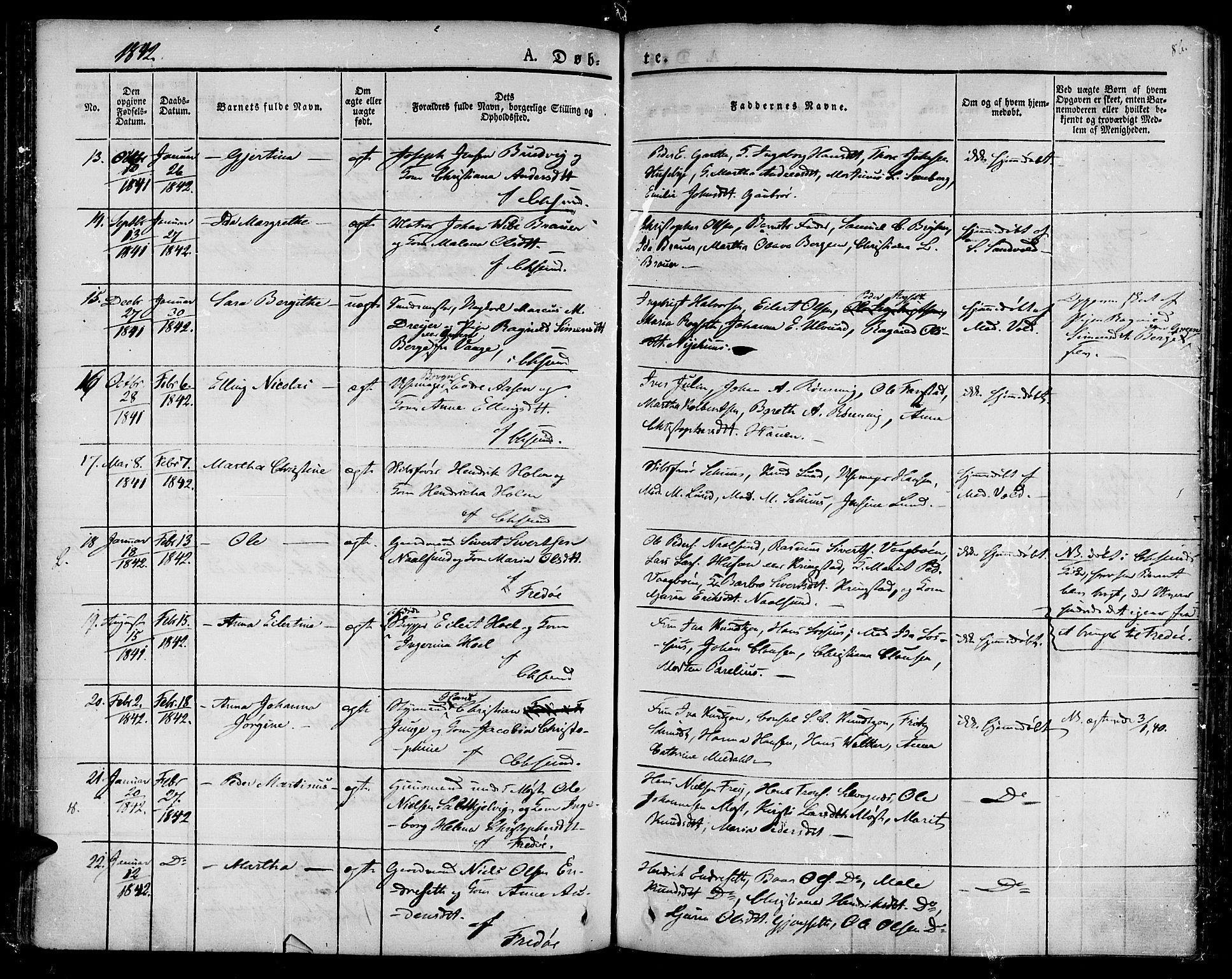 SAT, Ministerialprotokoller, klokkerbøker og fødselsregistre - Møre og Romsdal, 572/L0843: Ministerialbok nr. 572A06, 1832-1842, s. 86