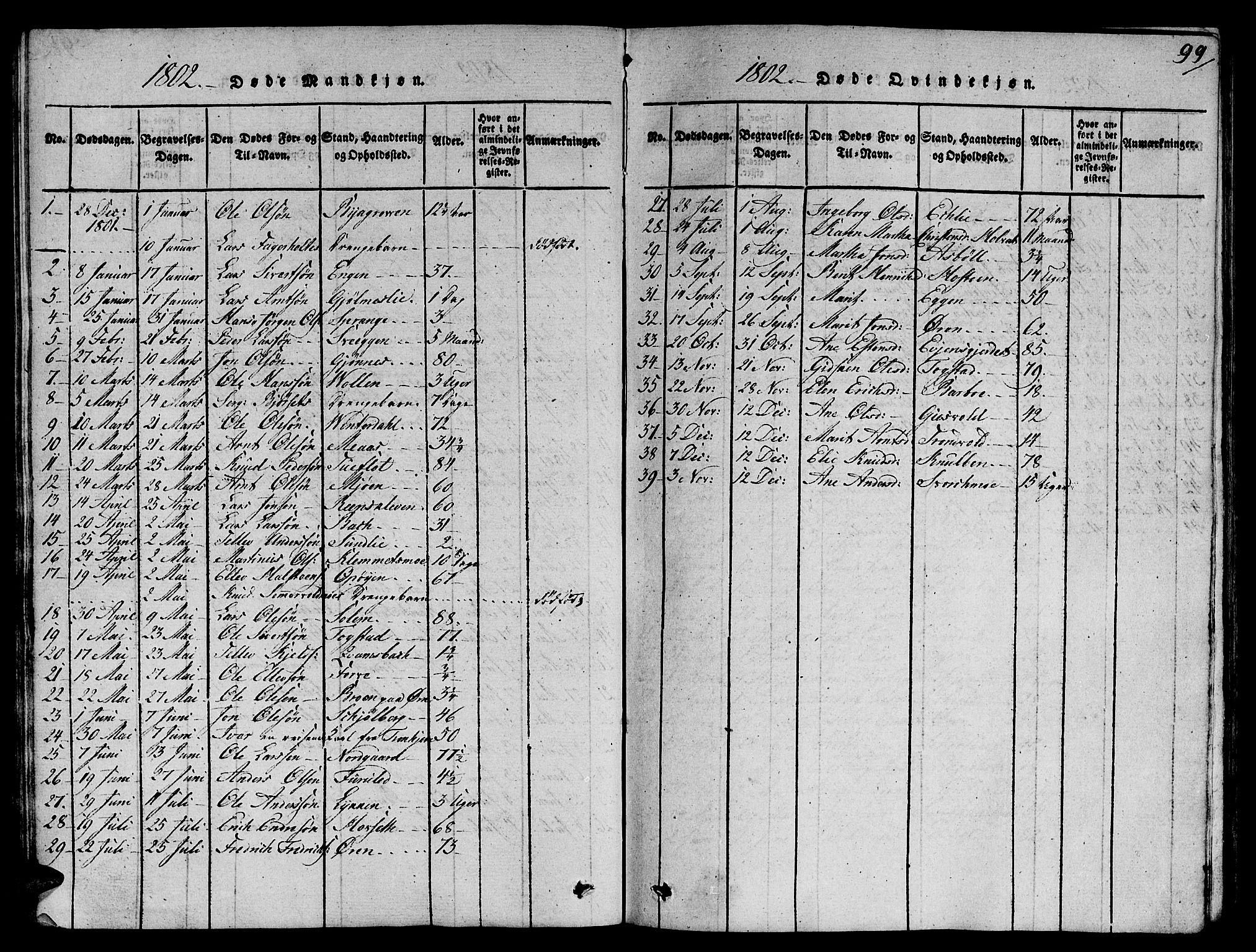 SAT, Ministerialprotokoller, klokkerbøker og fødselsregistre - Sør-Trøndelag, 668/L0803: Ministerialbok nr. 668A03, 1800-1826, s. 99