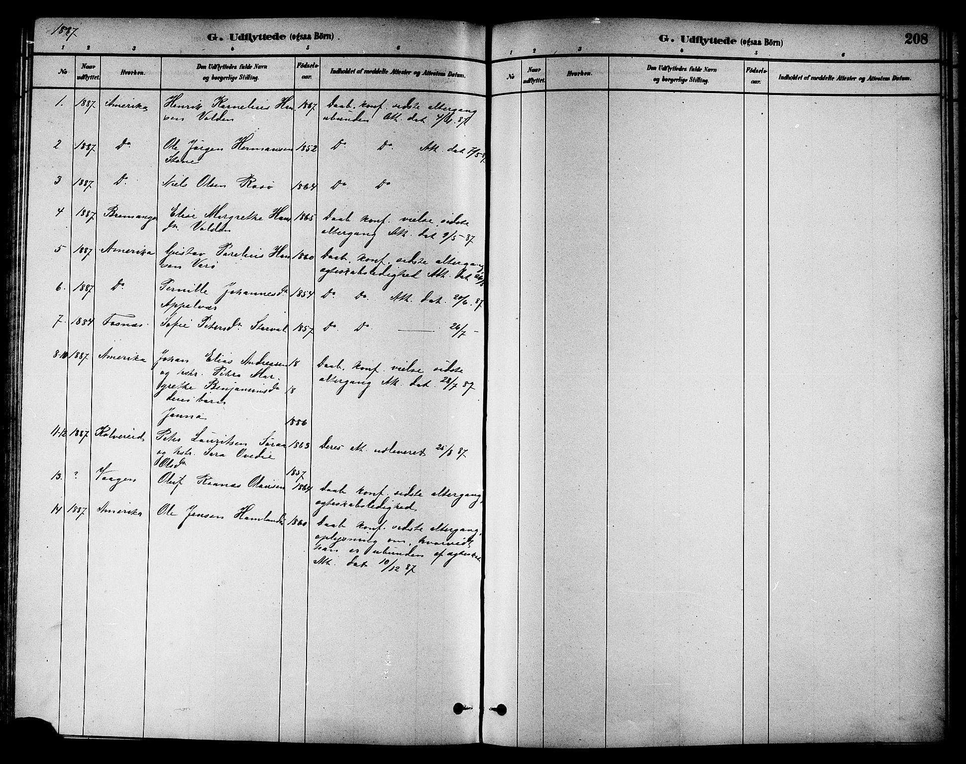 SAT, Ministerialprotokoller, klokkerbøker og fødselsregistre - Nord-Trøndelag, 784/L0672: Ministerialbok nr. 784A07, 1880-1887, s. 208