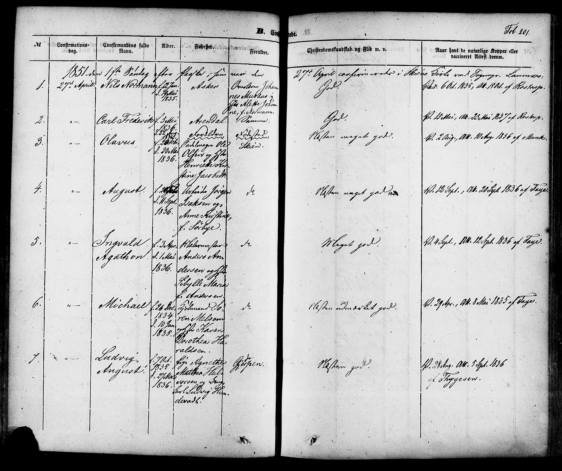 SAKO, Skien kirkebøker, F/Fa/L0006a: Ministerialbok nr. 6A, 1843-1856, s. 201