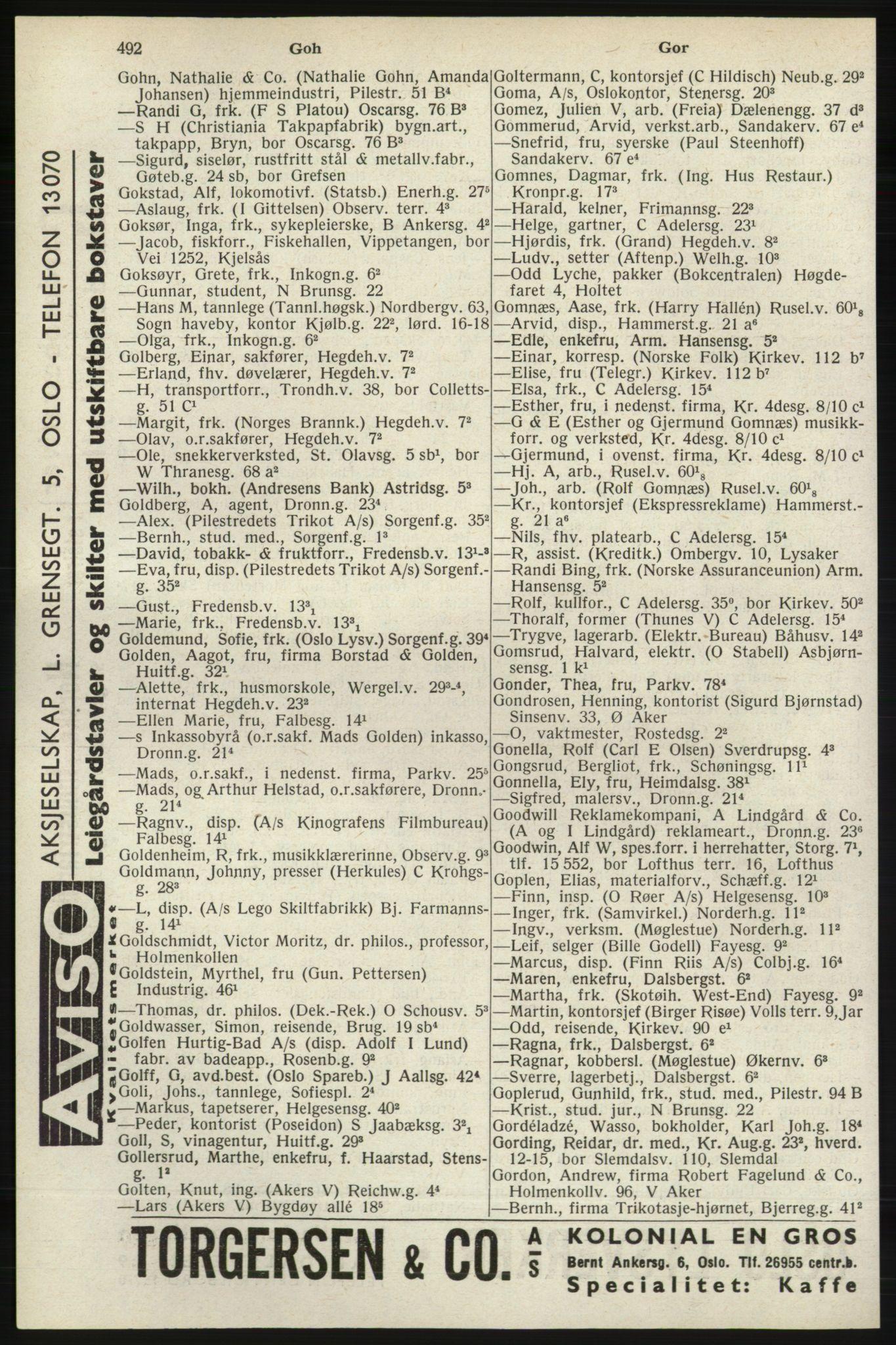 PUBL, Kristiania/Oslo adressebok, 1940, s. 510