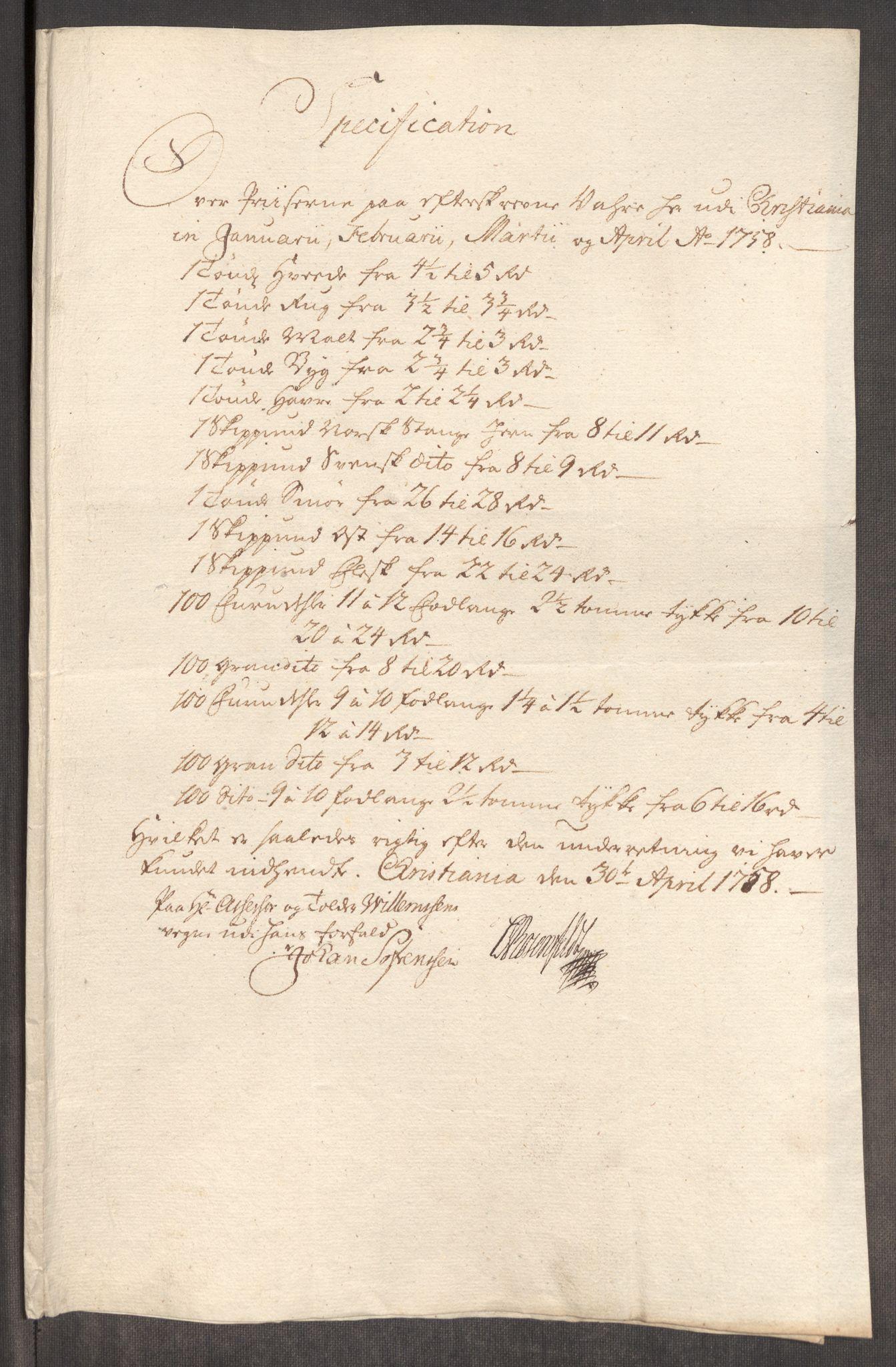 RA, Rentekammeret inntil 1814, Realistisk ordnet avdeling, Oe/L0006: [Ø1]: Priskuranter, 1758-1760, s. 107